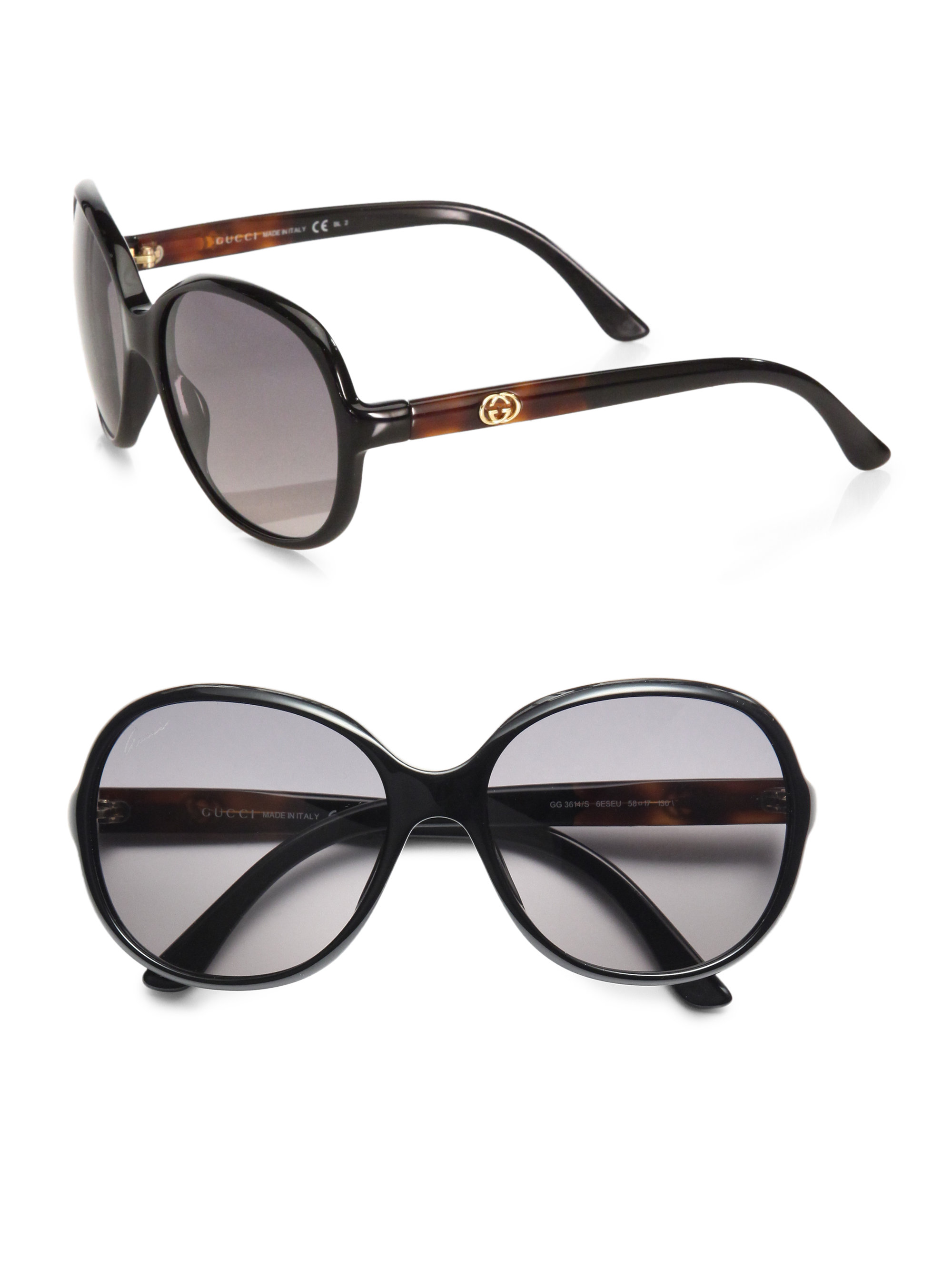Lyst Gucci Oversized Round Plastic Sunglasses In Black