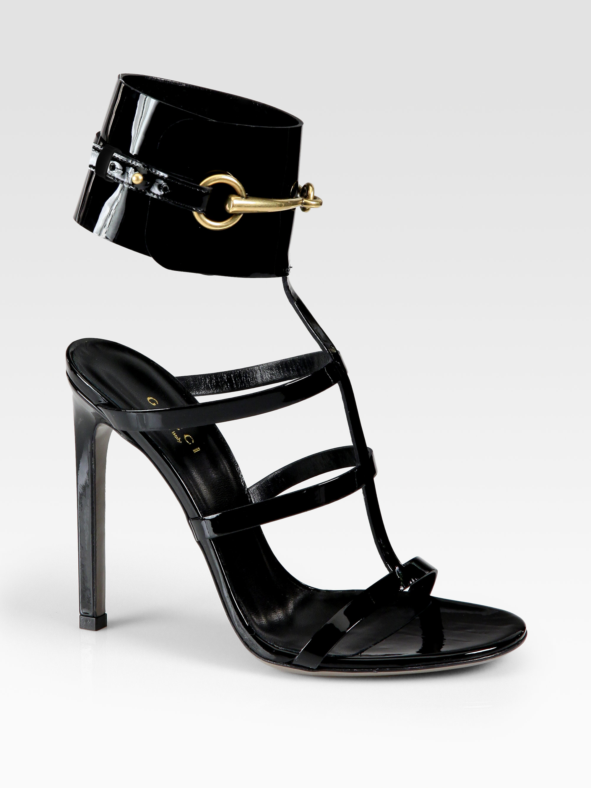 1d05fa80b47 Gucci Ursula Patent Leather Horsebit Ankle Strap Sandals in Black - Lyst