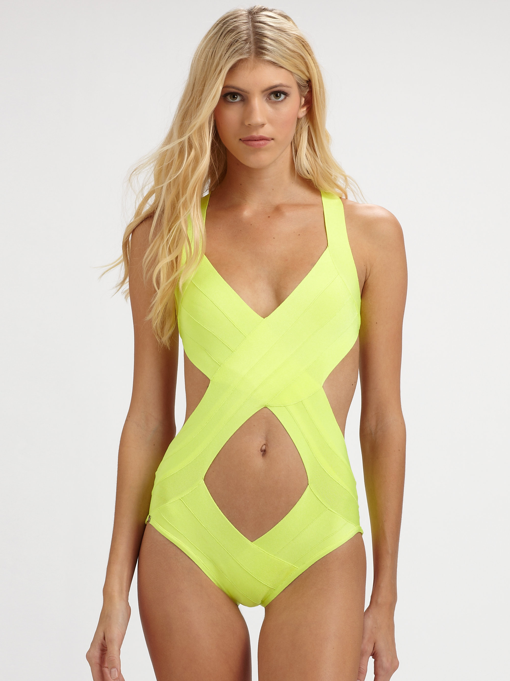 herv l ger onepiece cutout swimsuit in yellow neon