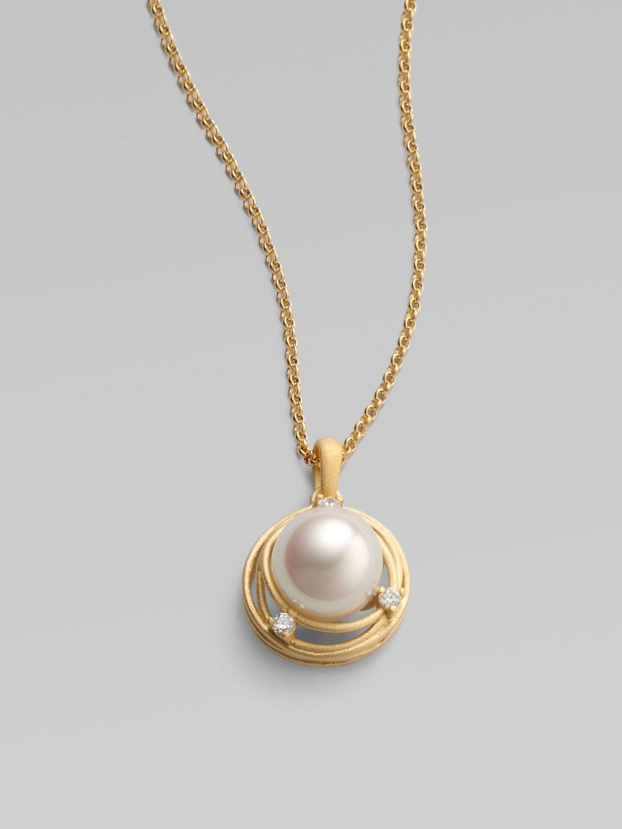 lyst majorica 12mm pearl pendant necklace in metallic