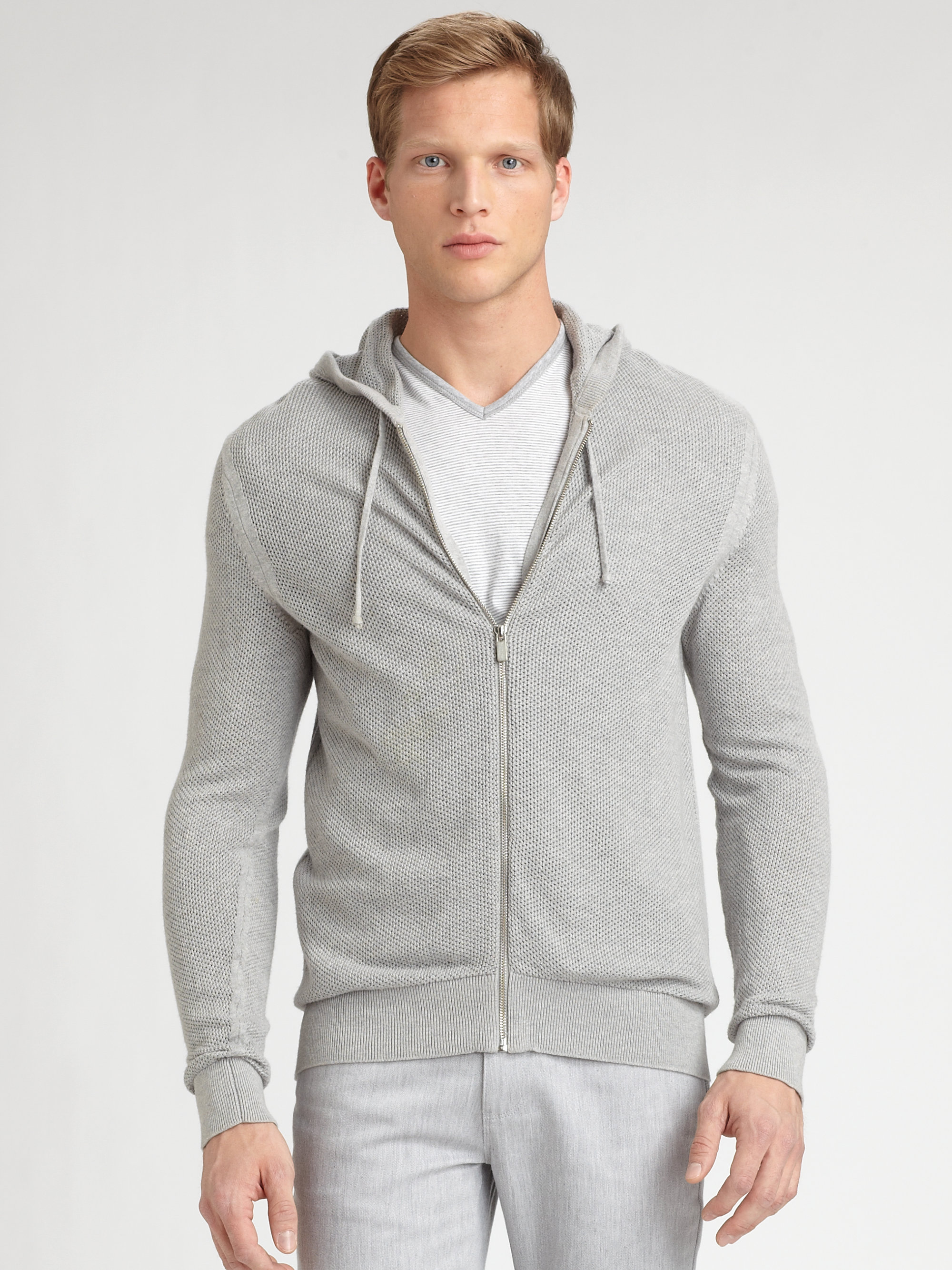 Lyst Michael Kors Waffle Knit Hoodie In Gray For Men