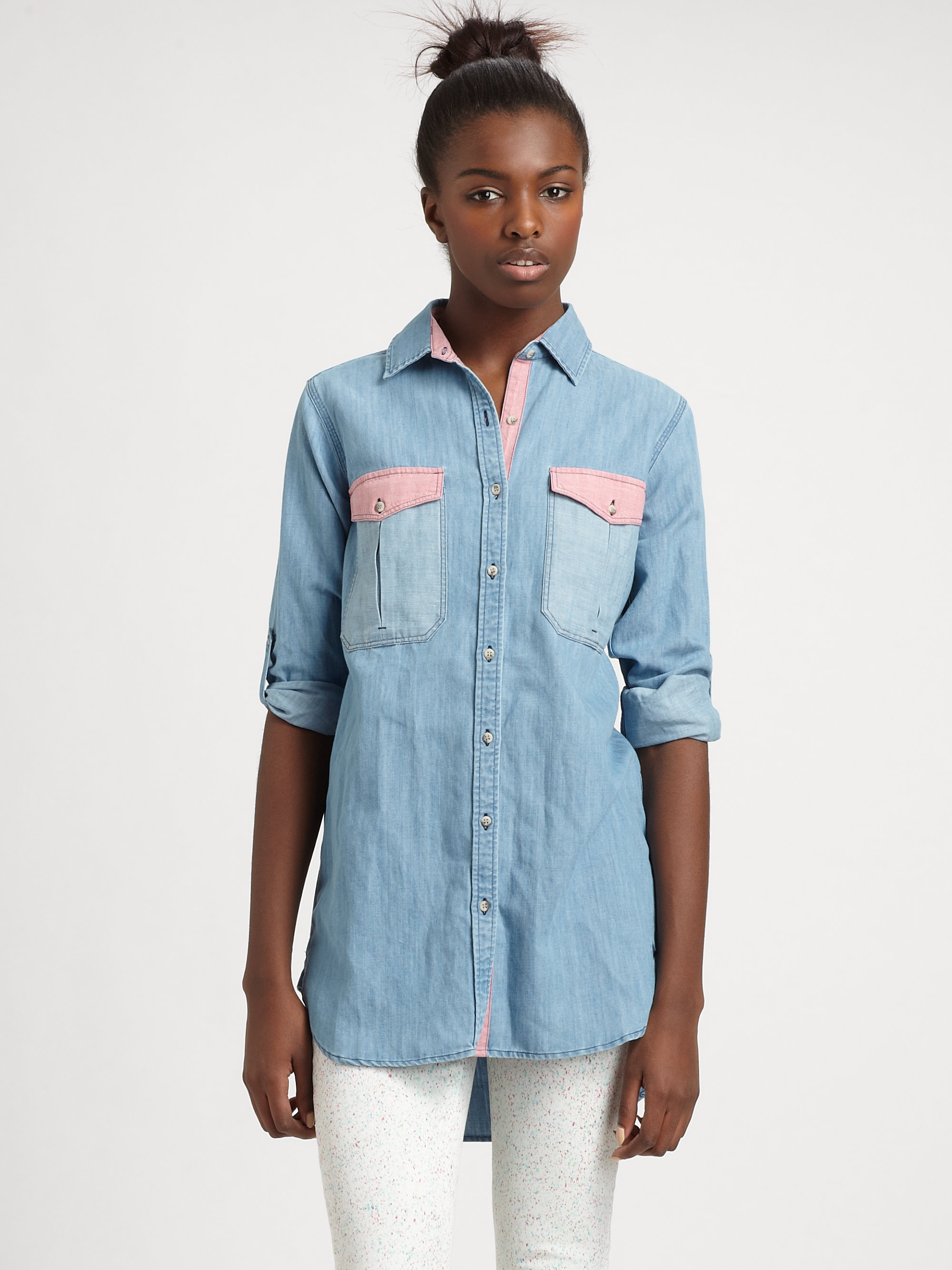 Mih jeans oversized two tone chambray shirt in blue for Chambray jeans