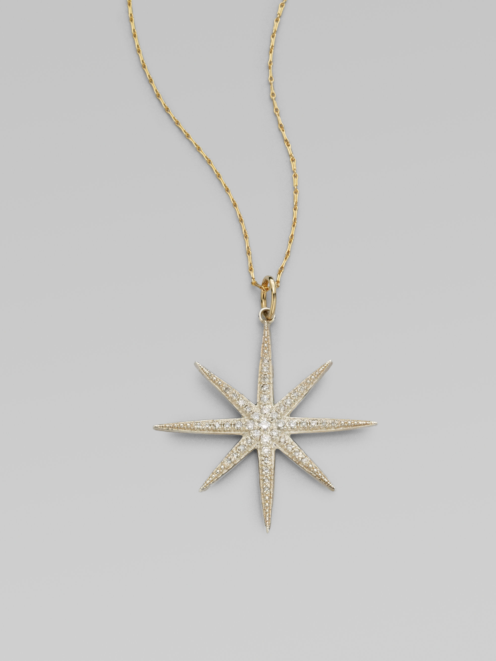 Mizuki Diamond Sterling Silver and 14k Yellow Gold Star Necklace