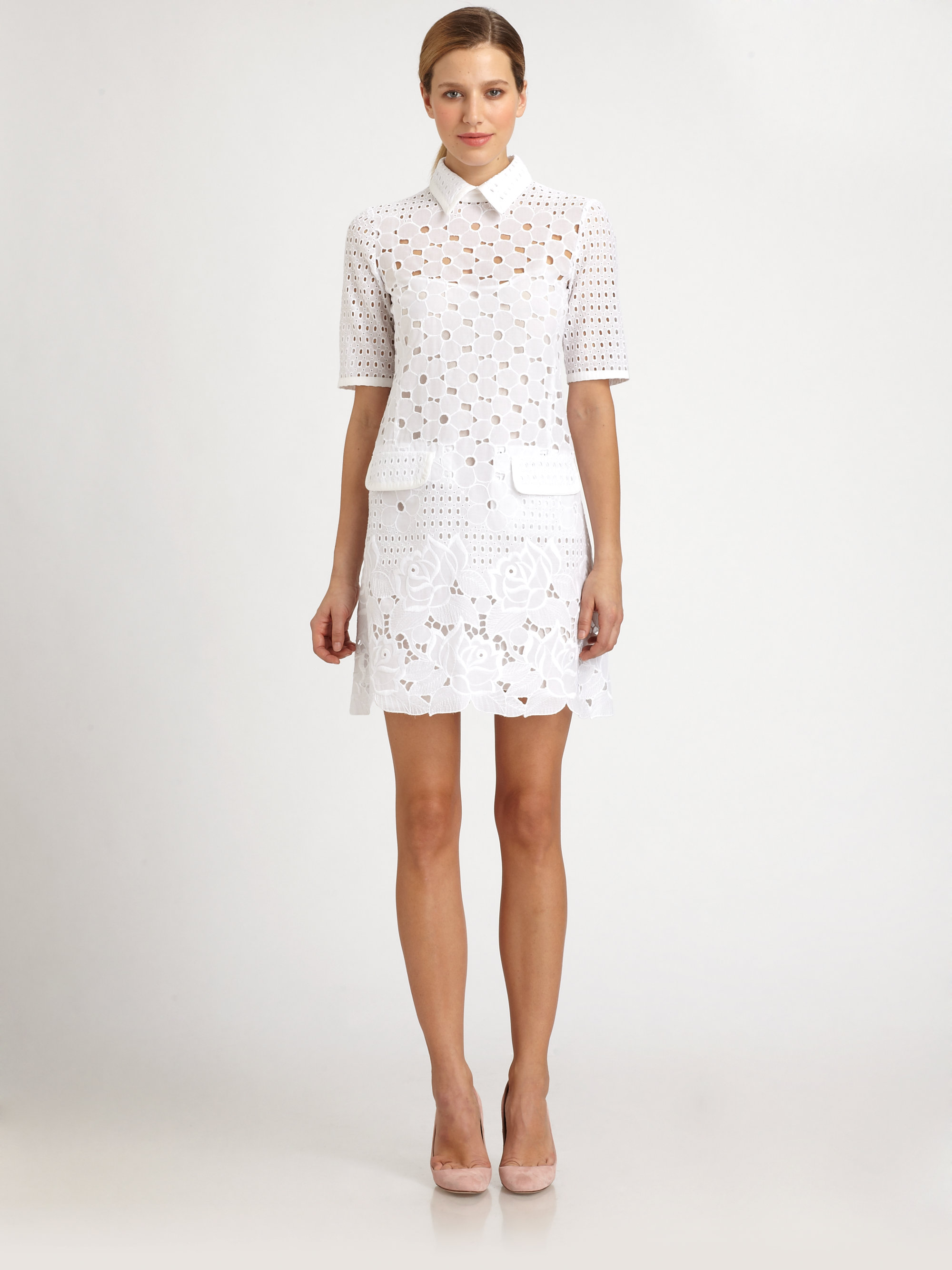 Lyst Moschino Collared Eyelet Lace Dress In White