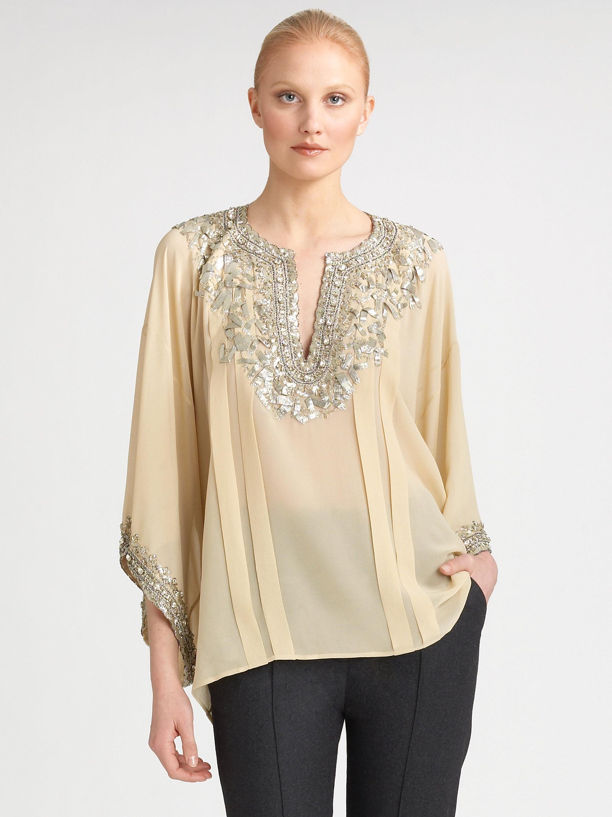 Oscar de la renta embroidered silk caftan in beige nude for Caftan avec satin de chaise