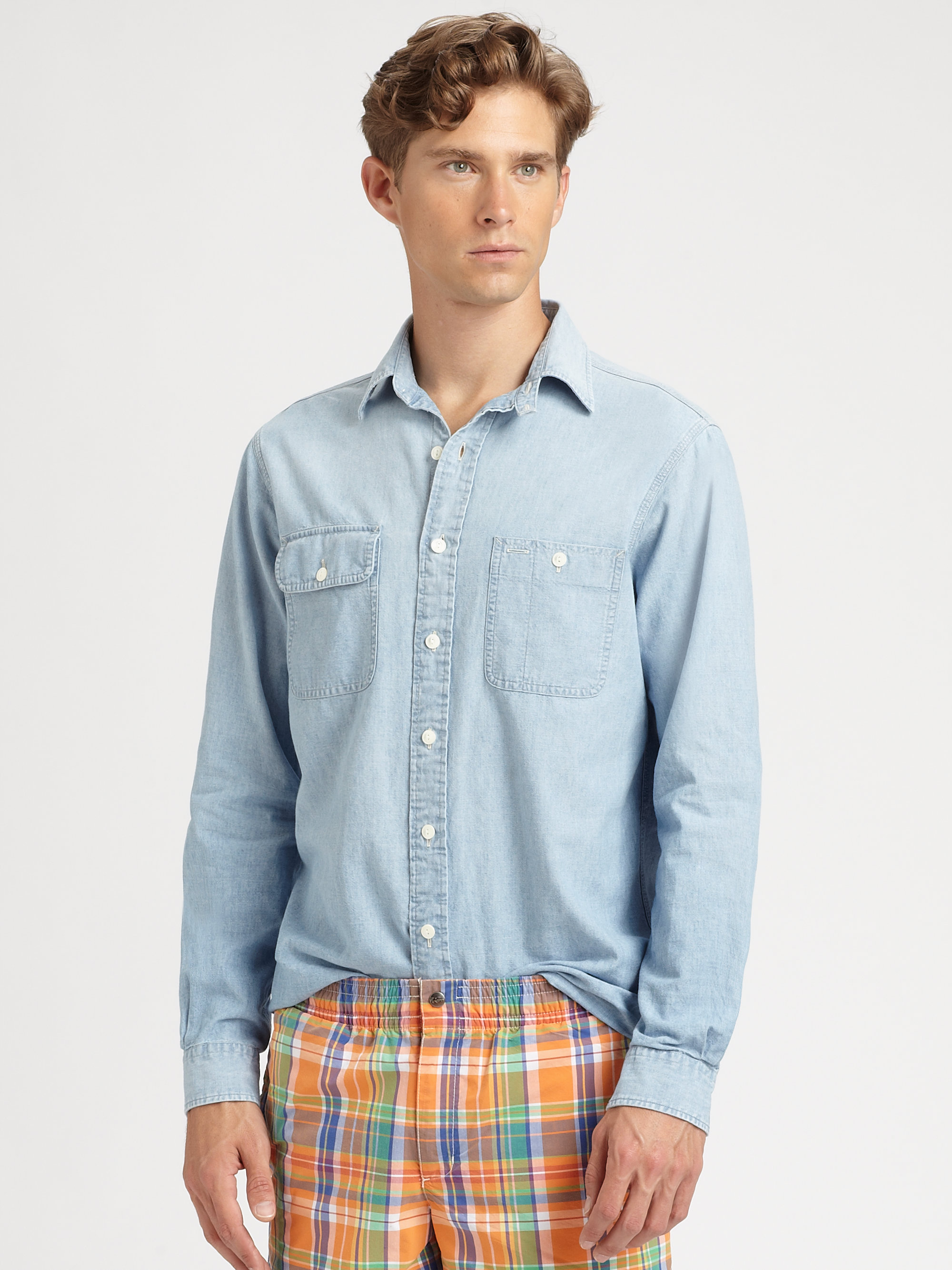 da36107f2b Lyst - Polo Ralph Lauren Customfit Denim Chambray Shirt in Blue for Men
