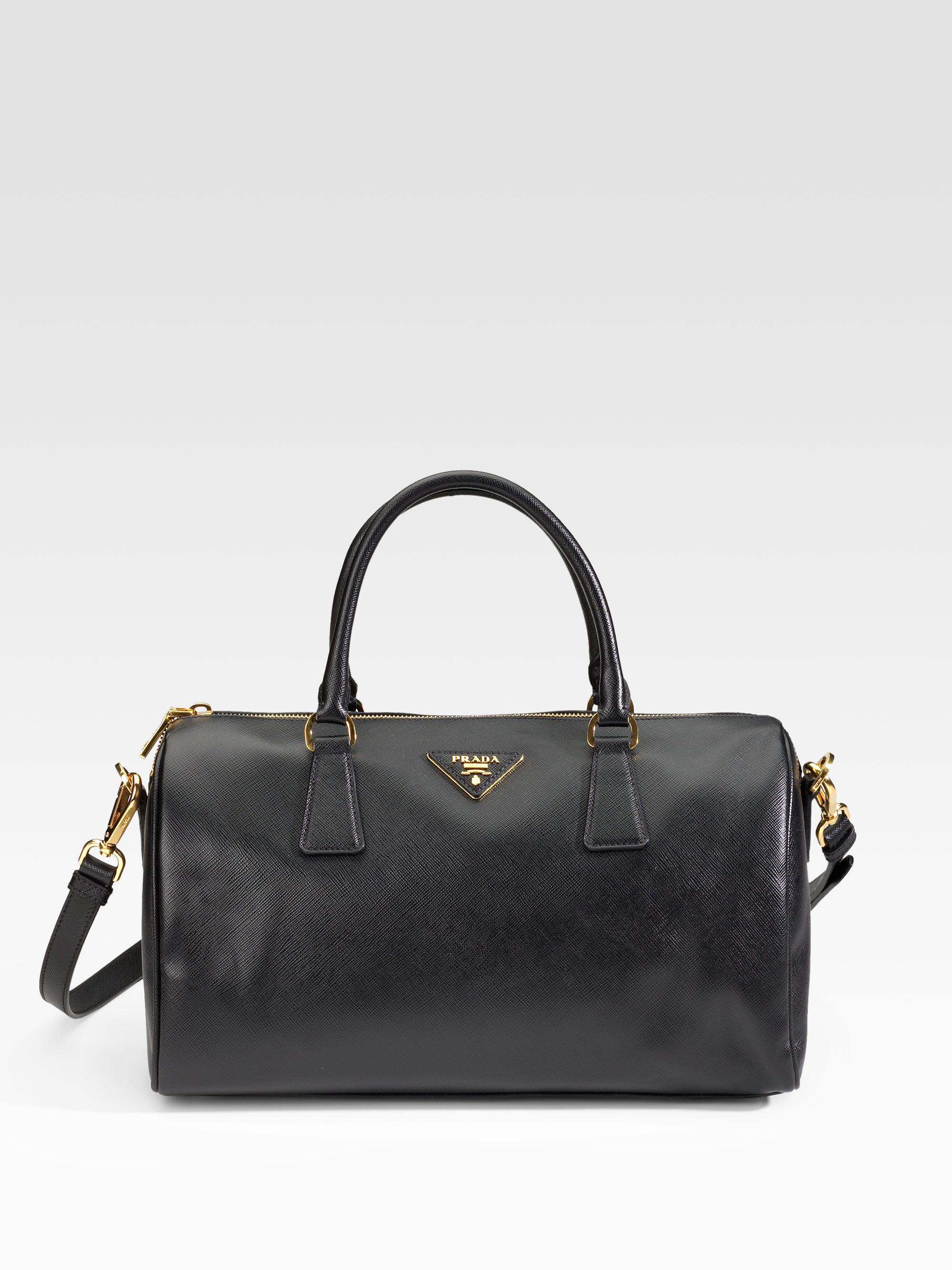 80c04b394d3 Lyst - Prada Saffiano Lux Boston Bag in Black
