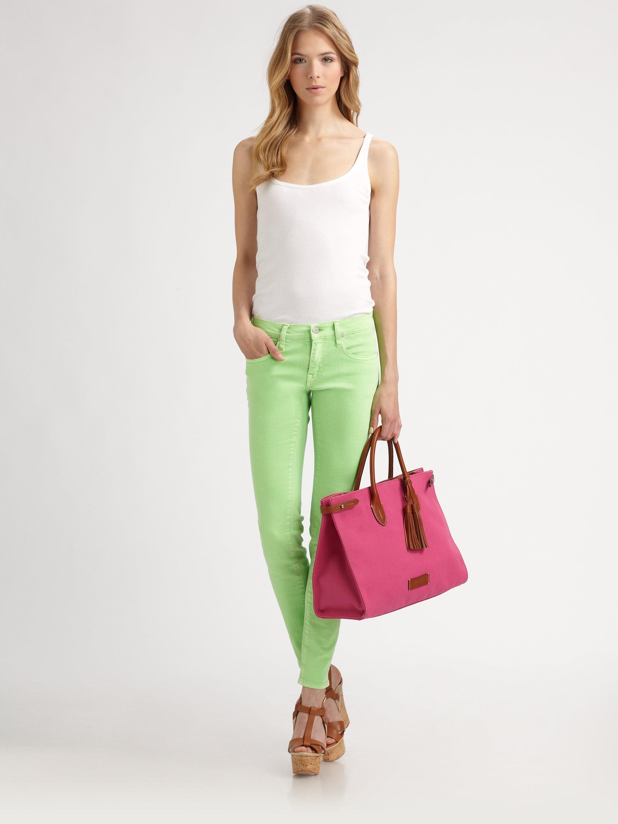 Ralph lauren blue label Skinny Neon Jeans in Green | Lyst