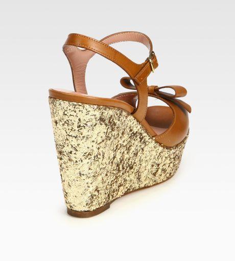 Glitter Wedge Sandal Bow Glitter Wedge Sandals