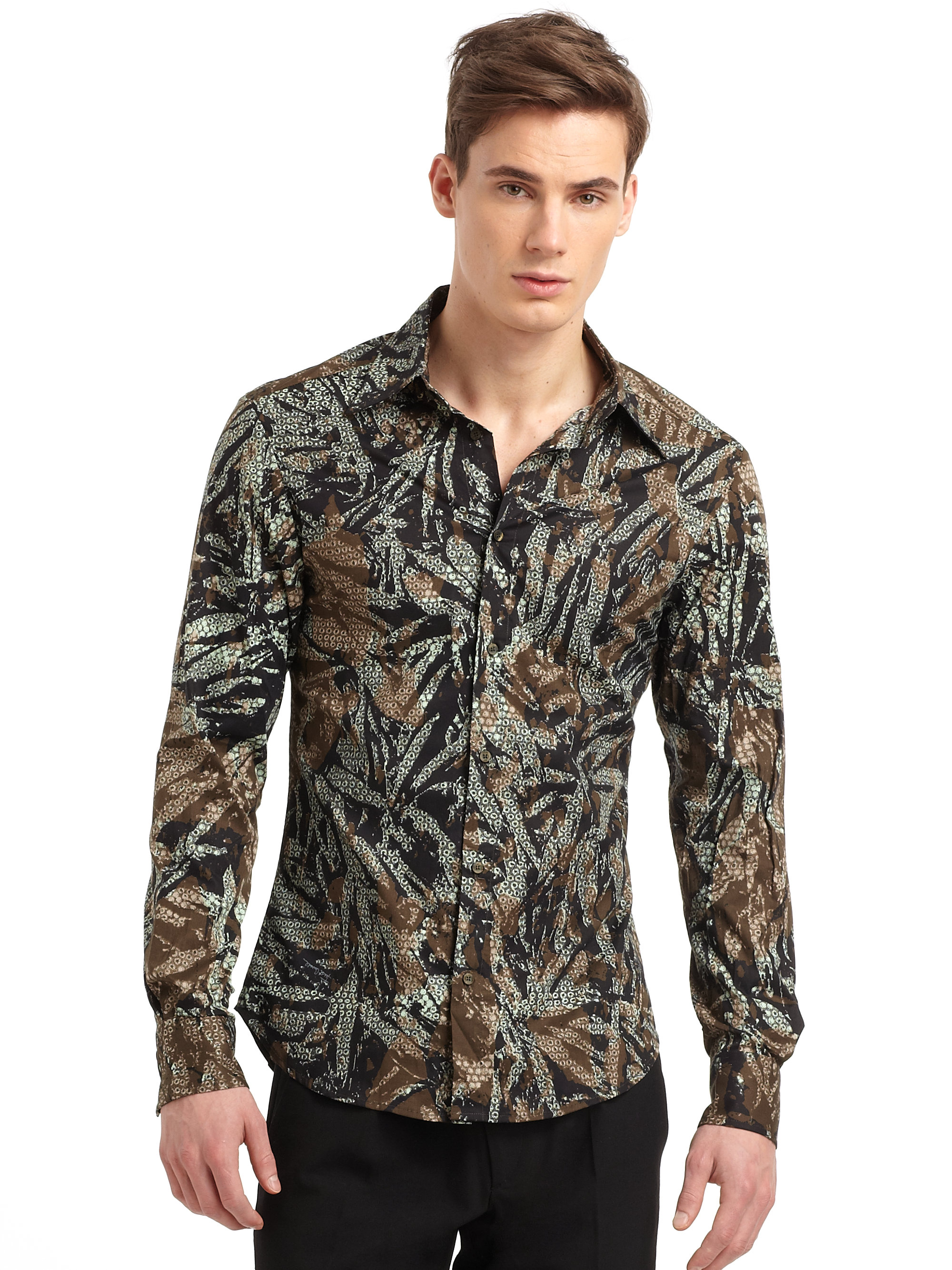 Roberto cavalli Abstract Print Dress Shirt for Men | Lyst