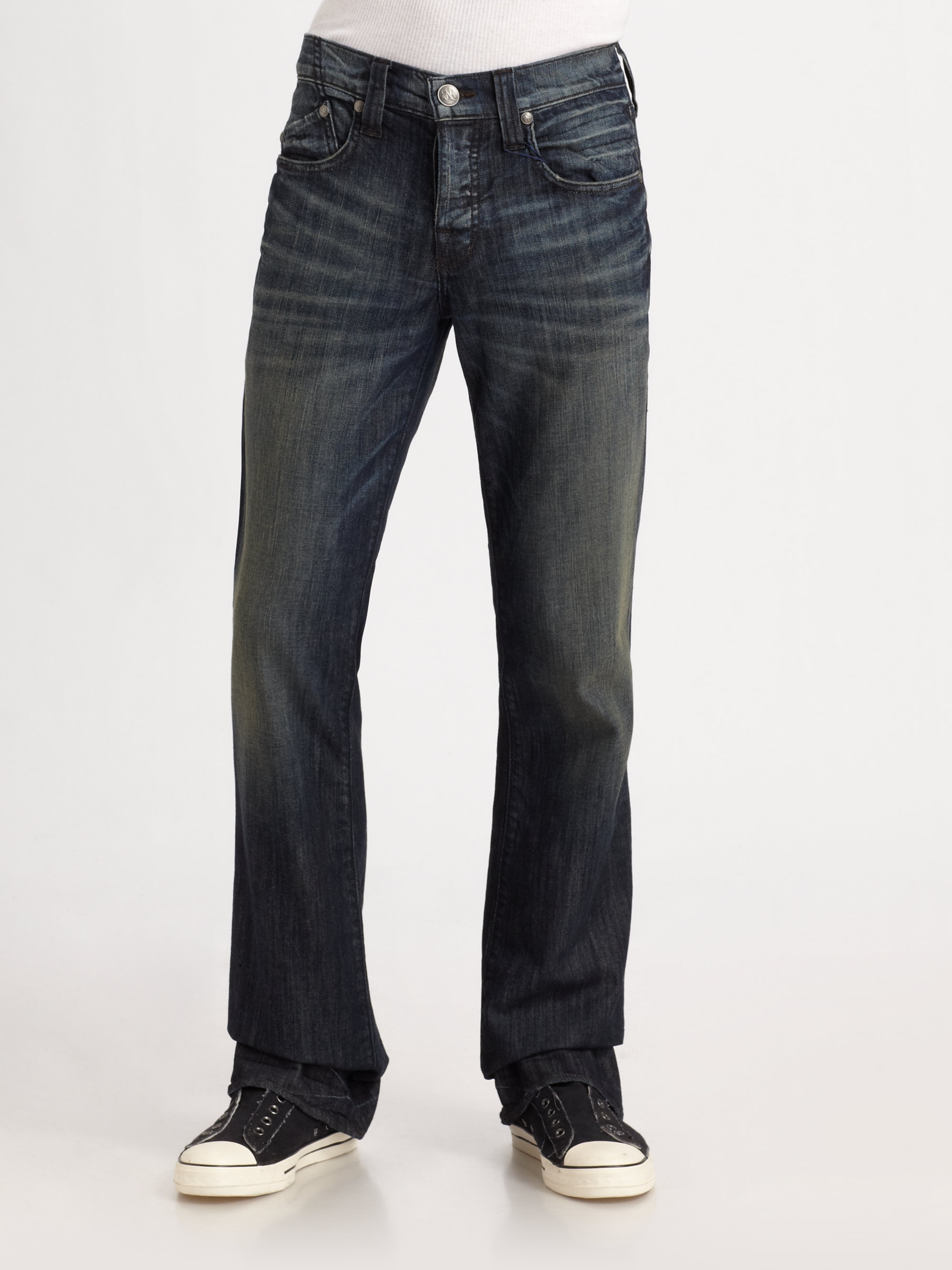 rock republic floyd relaxed bootcut jeans in blue for. Black Bedroom Furniture Sets. Home Design Ideas