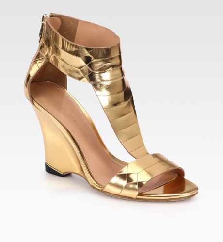 sigerson morrison ruby metallic leather wedge sandals in