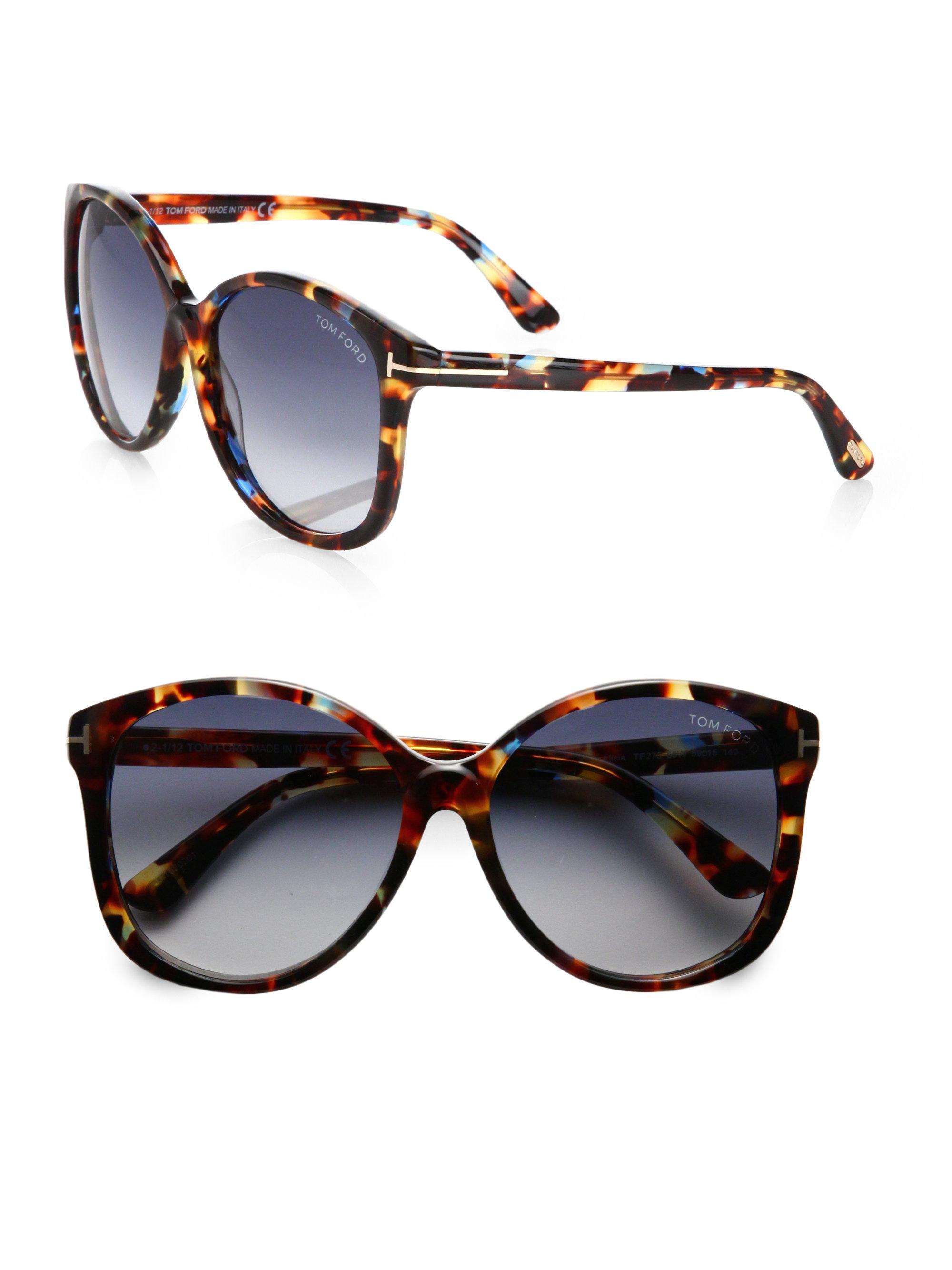 8cc6f09364c Tom ford Alicia Round Acetate Sunglasses in Brown