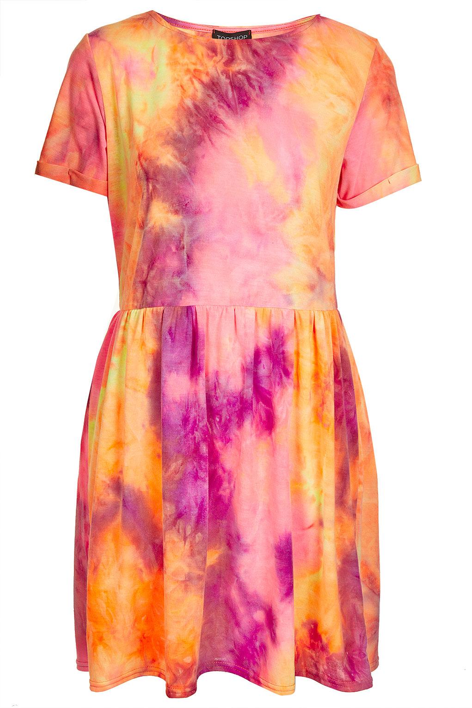 Lyst Topshop Neon Tie Dye Skater Dress In Pink