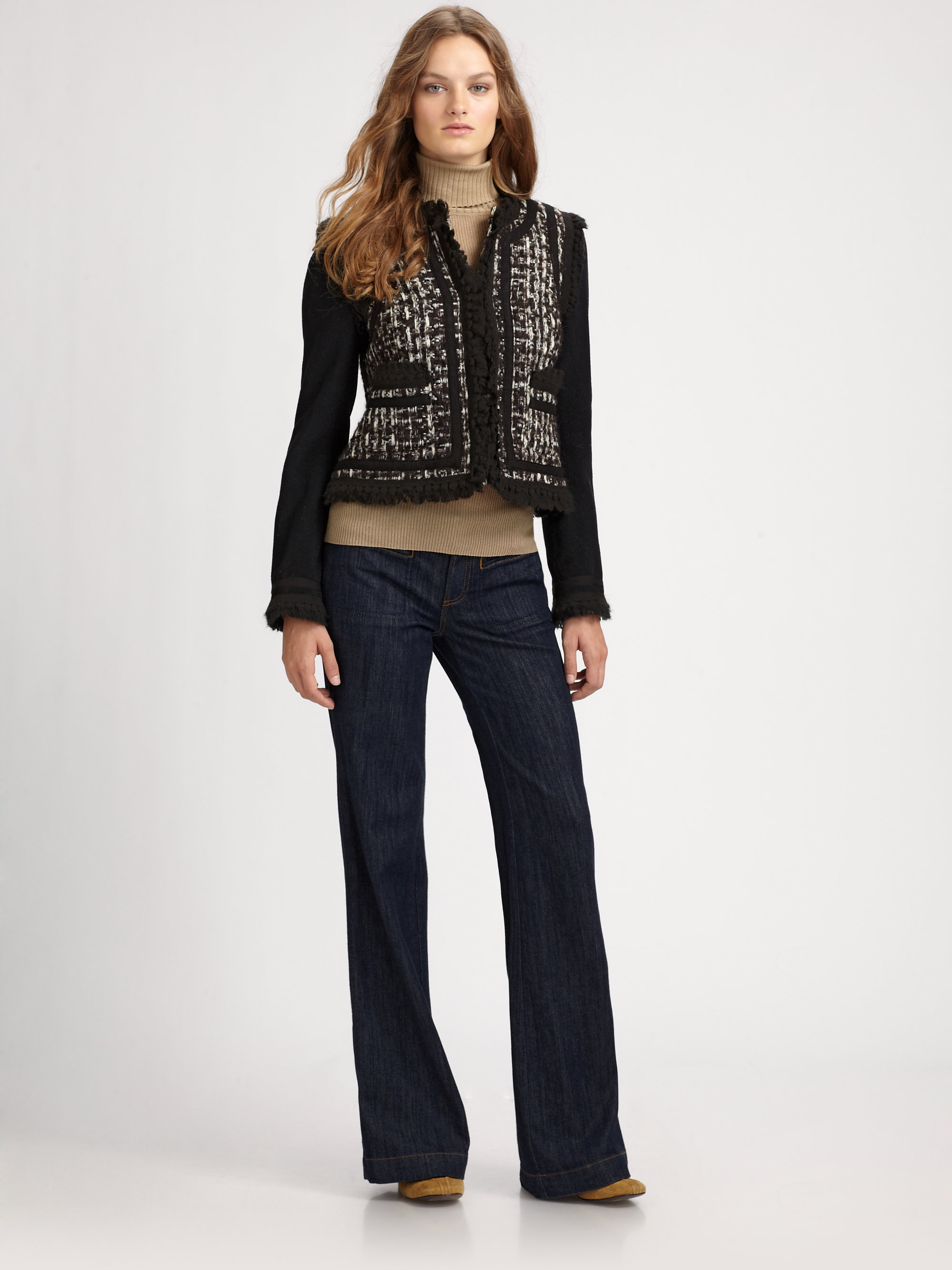 Tory Burch Carr Ribbon Cropped Tweed Jacket In Brown Lyst