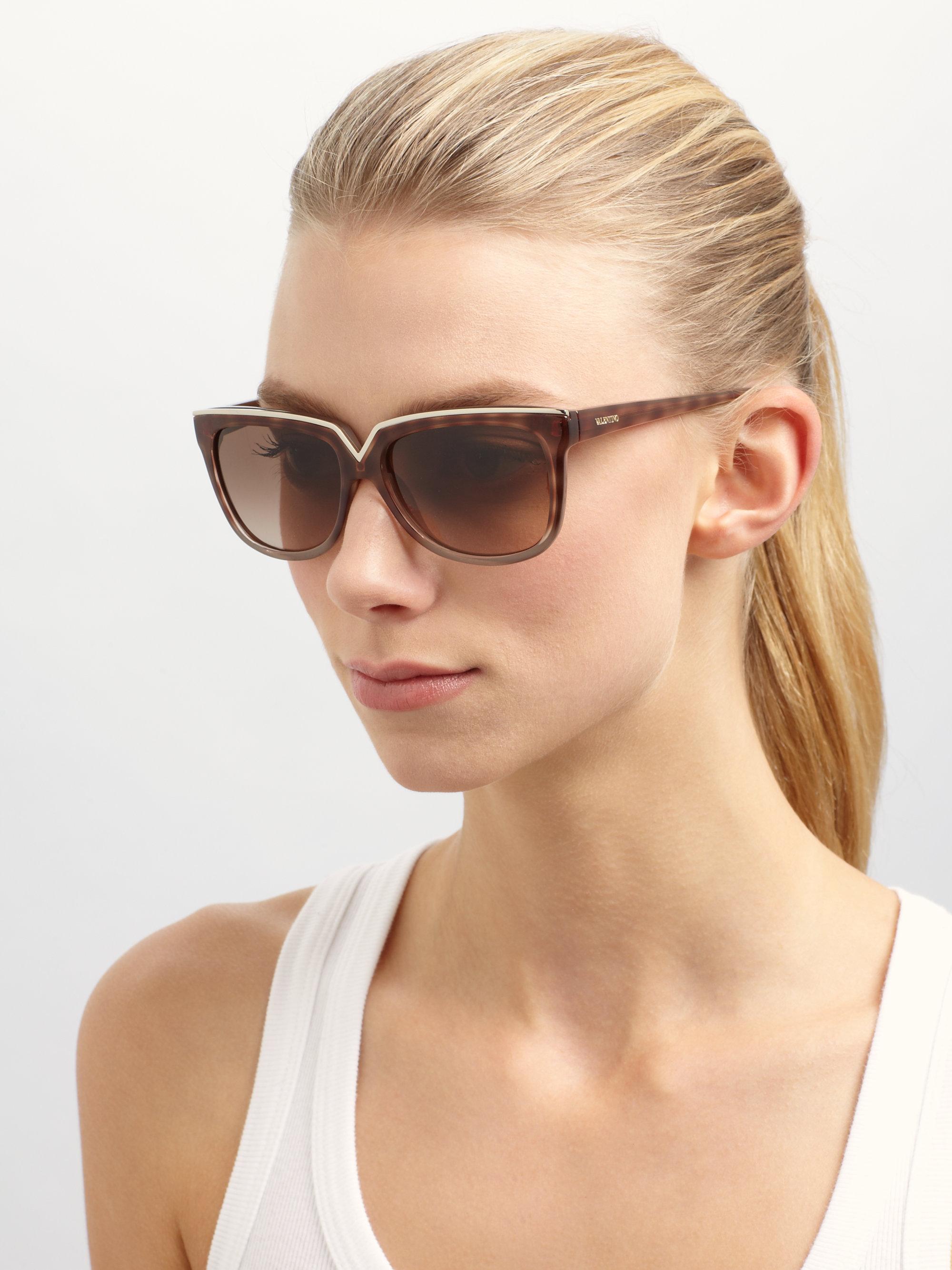 e8158cbbc0a Lyst - Valentino Diva V Square Sunglasses in Brown