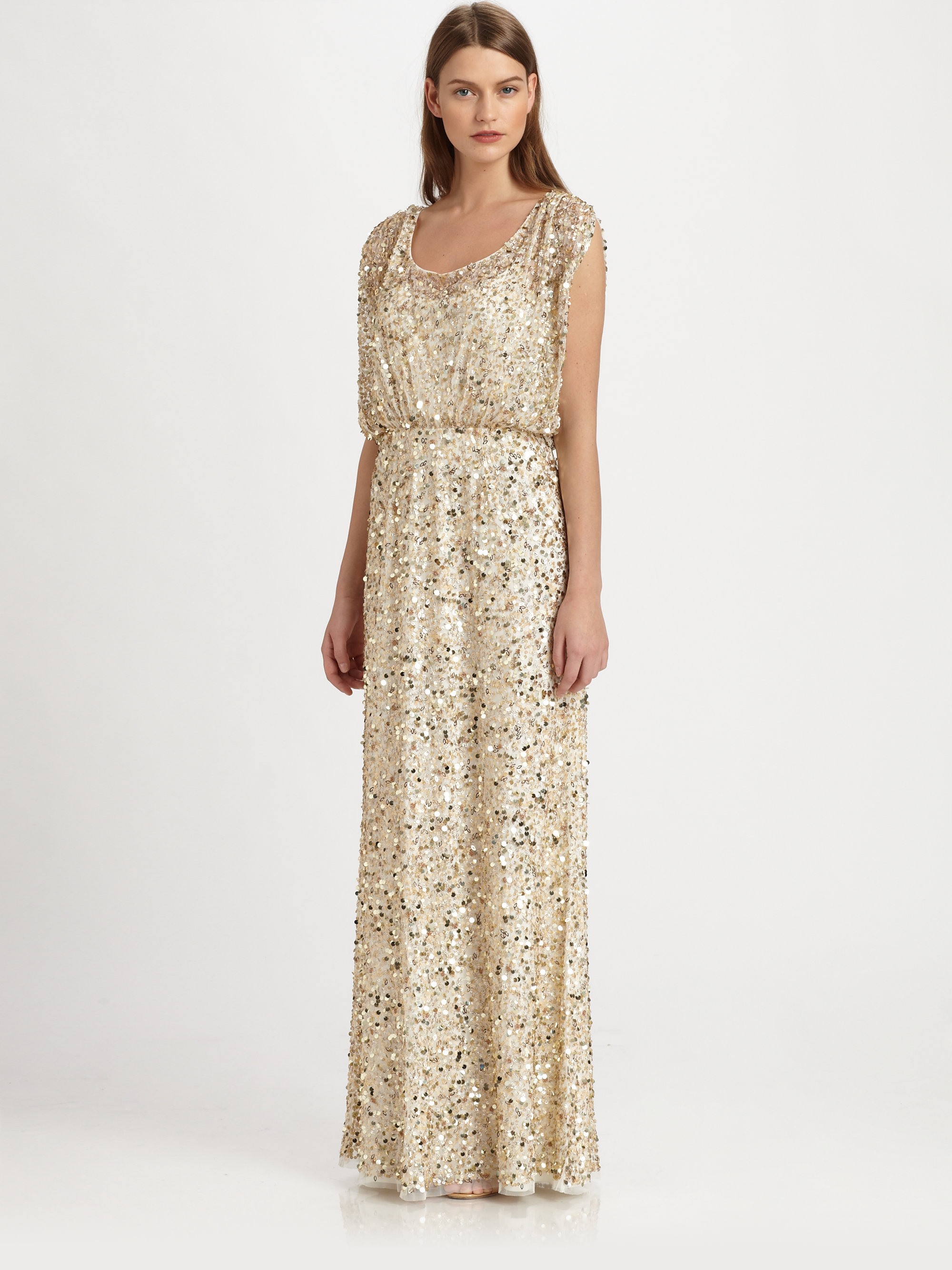 Aidan mattox Sequined Gown in Metallic | Lyst