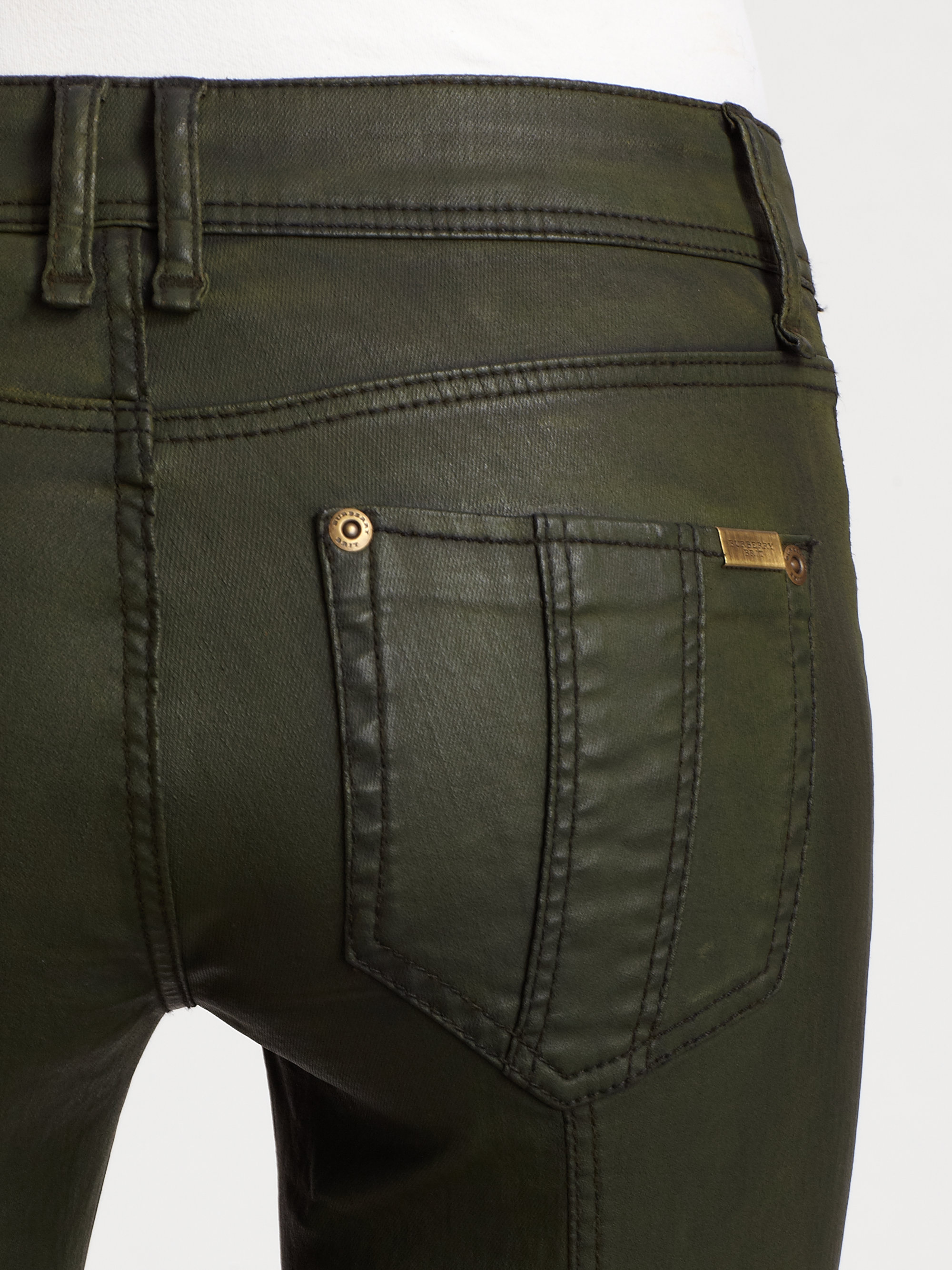 Lyst Burberry Brit Waxed Denim Skinny Jeans In Green