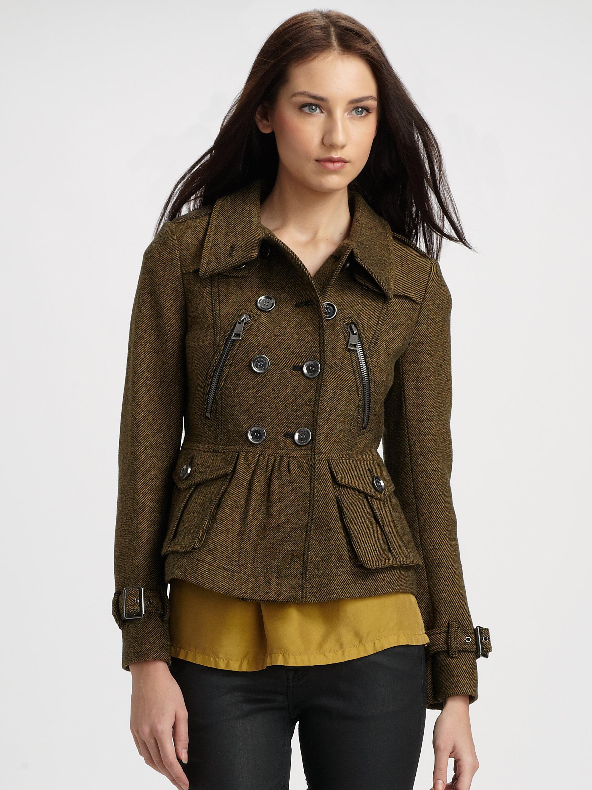 burberry brit tweed jacket in green gold lyst. Black Bedroom Furniture Sets. Home Design Ideas