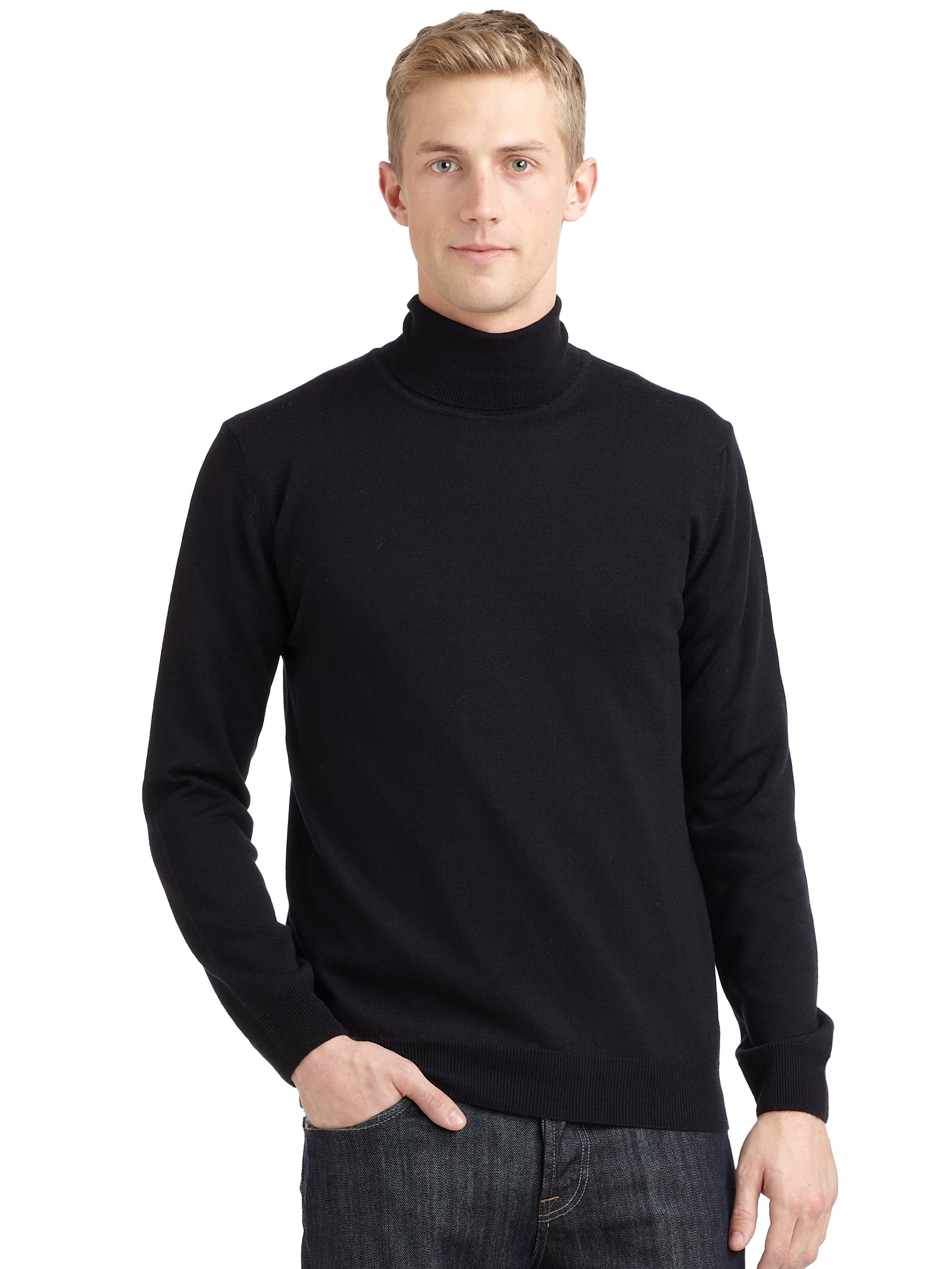 Calvin klein Merino Wool Turtleneck Sweater in Blue for Men | Lyst