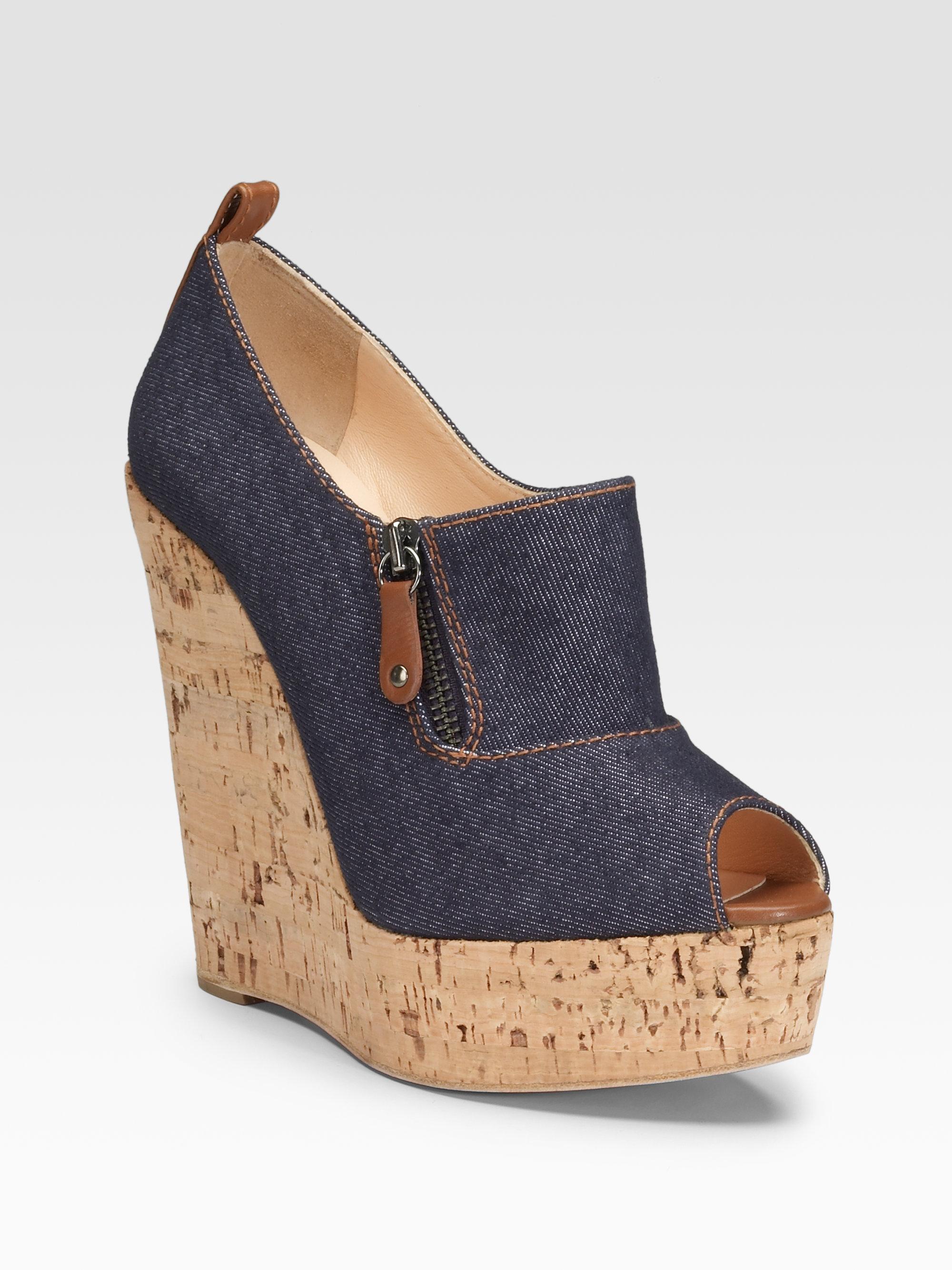 Christian louboutin Deroba Denim Wedge Ankle Boots in Blue (denim ...