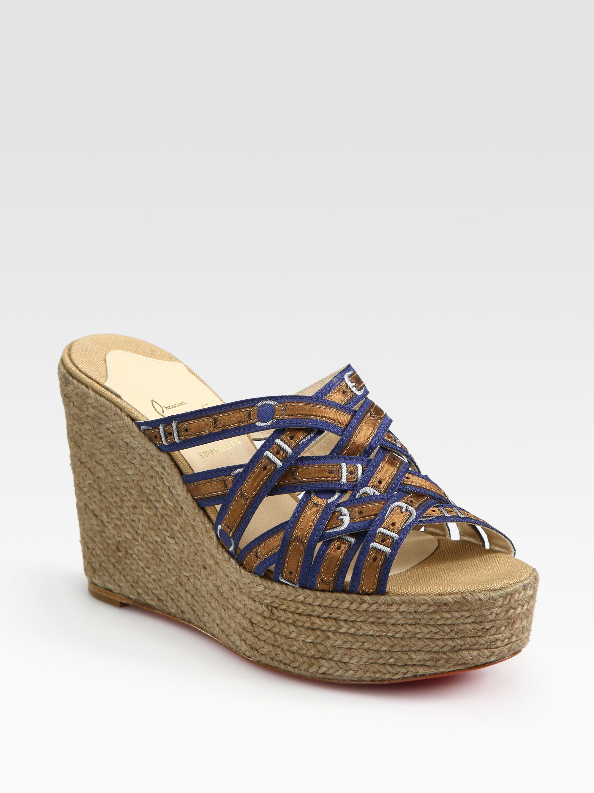 lyst christian louboutin crepon silk espadrille wedge sandals in brown rh lyst com