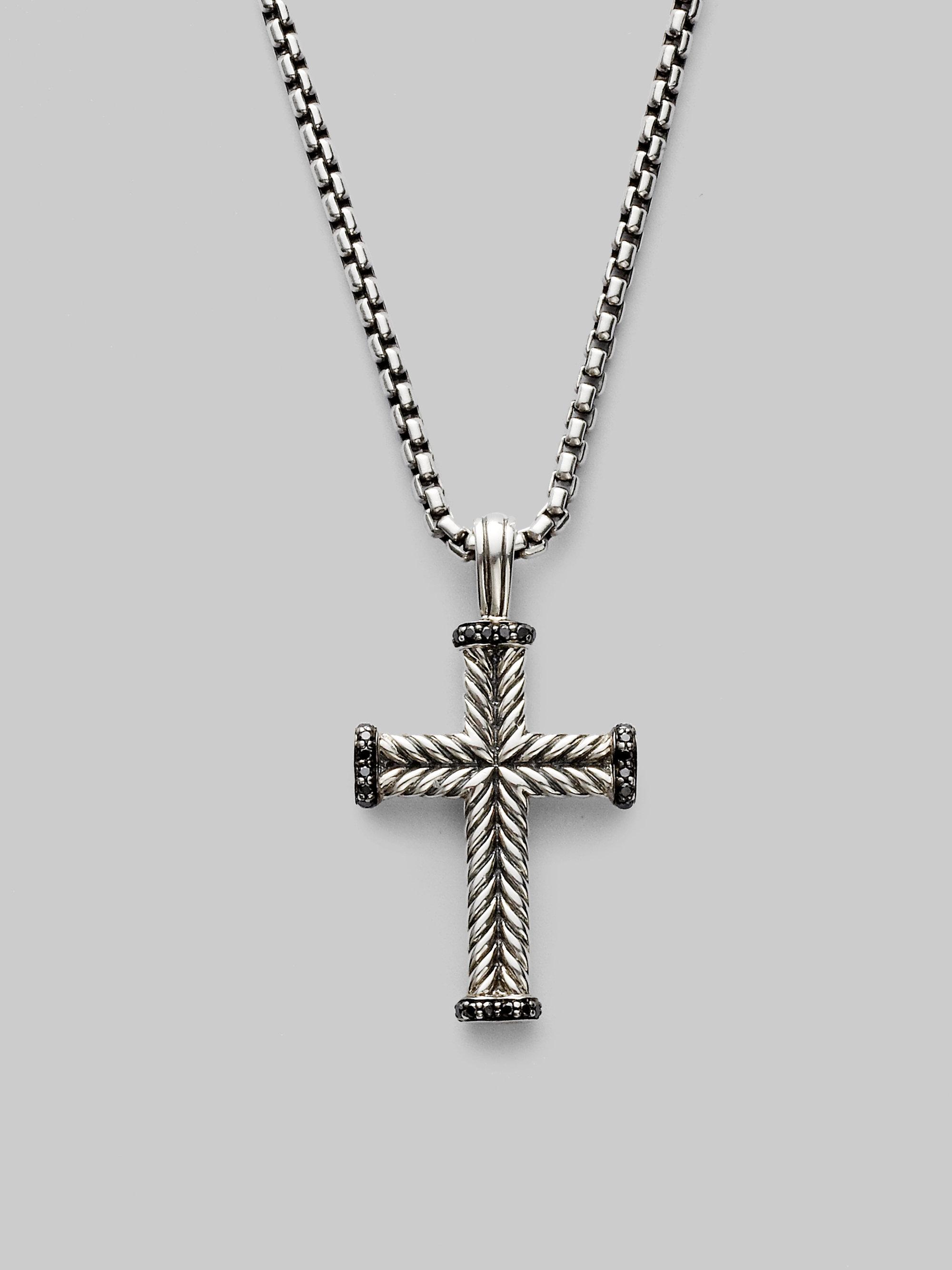 David Yurman Black Diamond Cross Necklace In Silver For