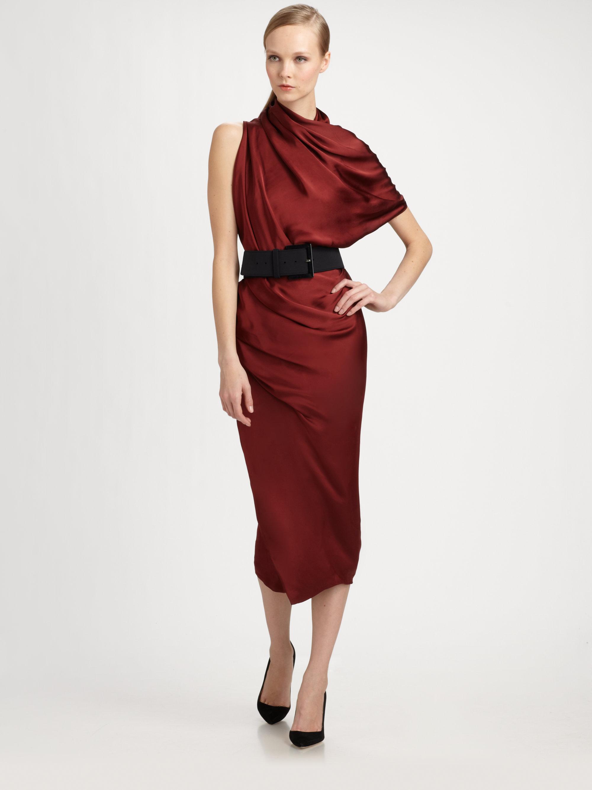Lyst Donna Karan Asymmetrical Belted Dress In Red