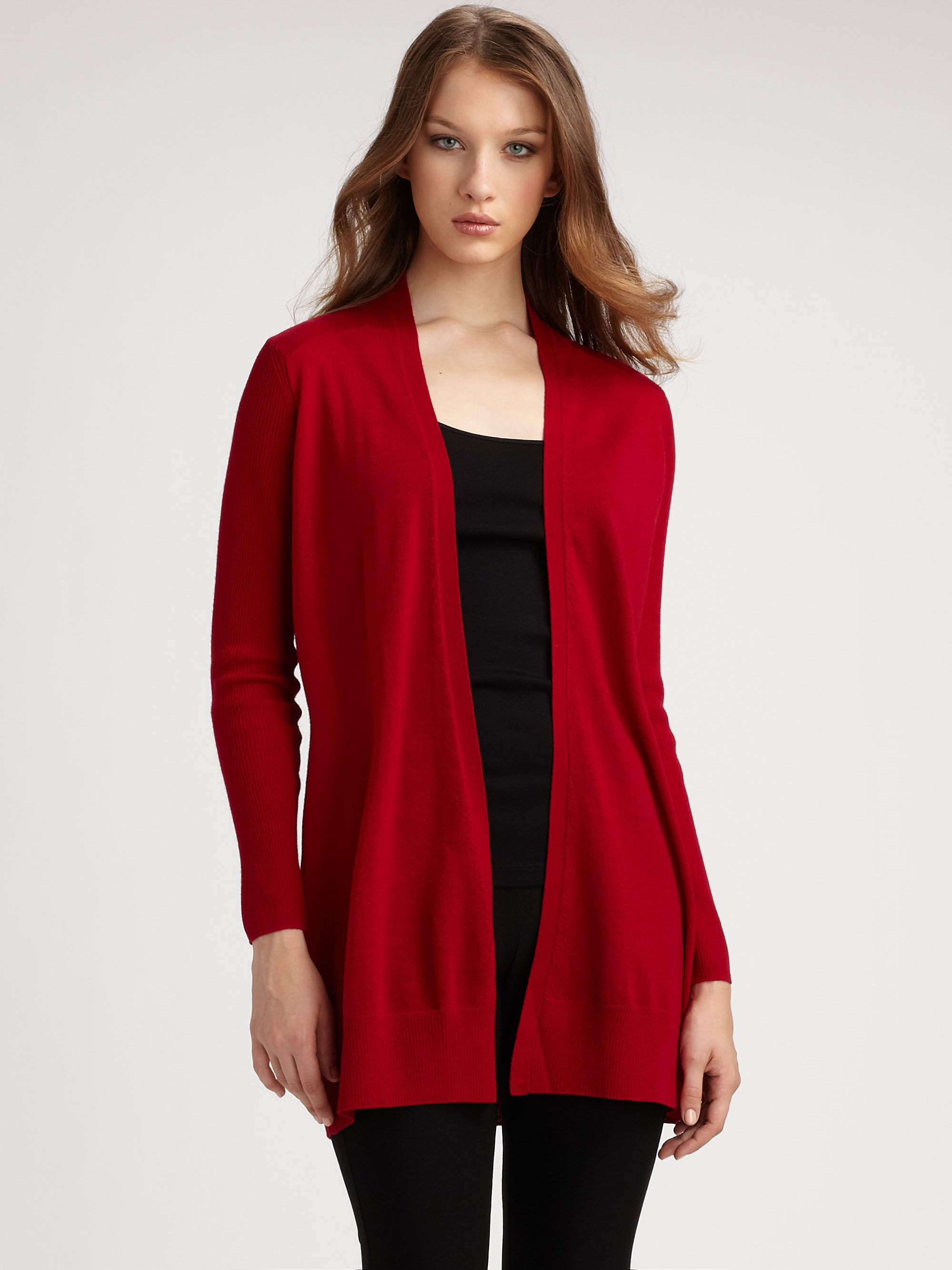100  [ Merino Cardigan ] | Check Detail Merino Wool Cardigan In ...