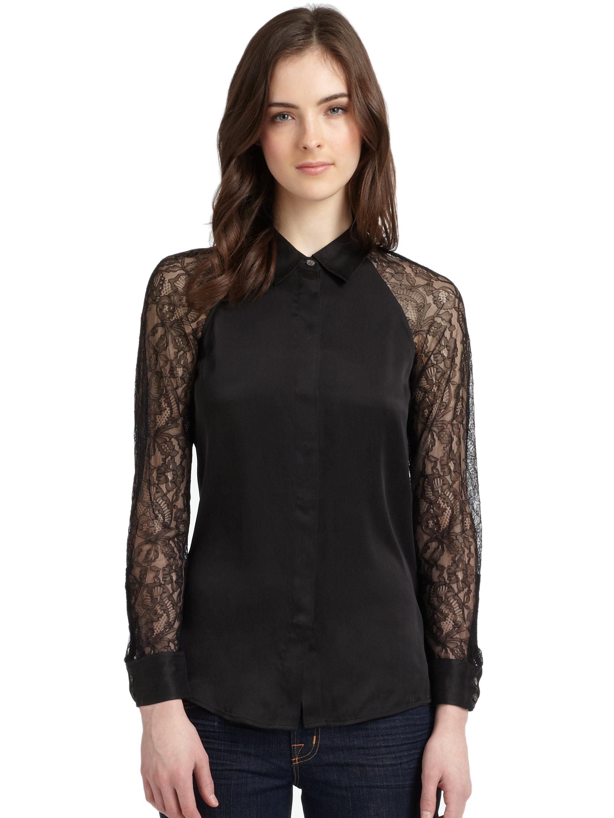 Equipment quinn silk lace sleeve blouse in black lyst for Equipment black silk shirt
