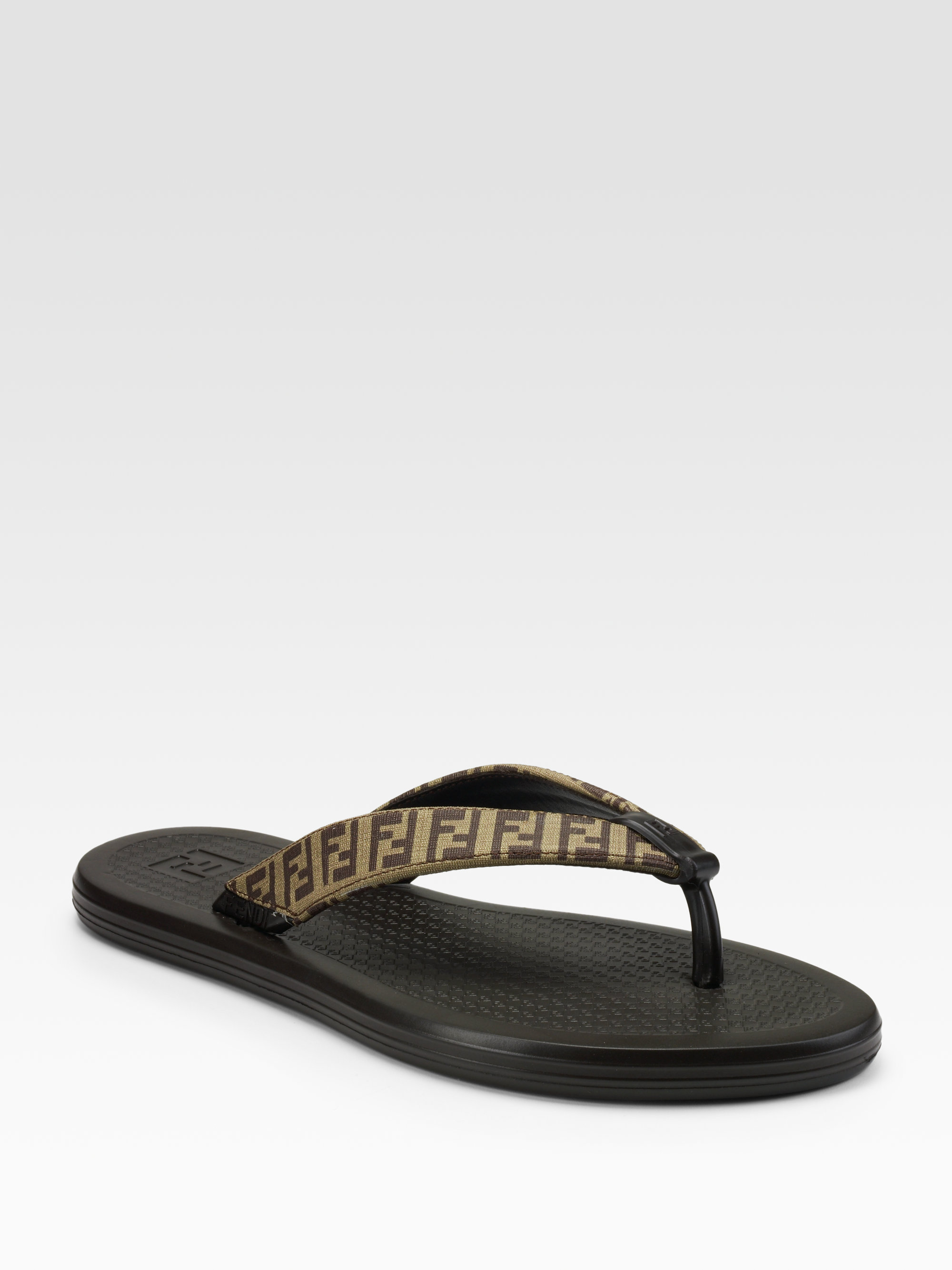Fendi Fiji Flipflops In Brown For Men Mahogany Lyst