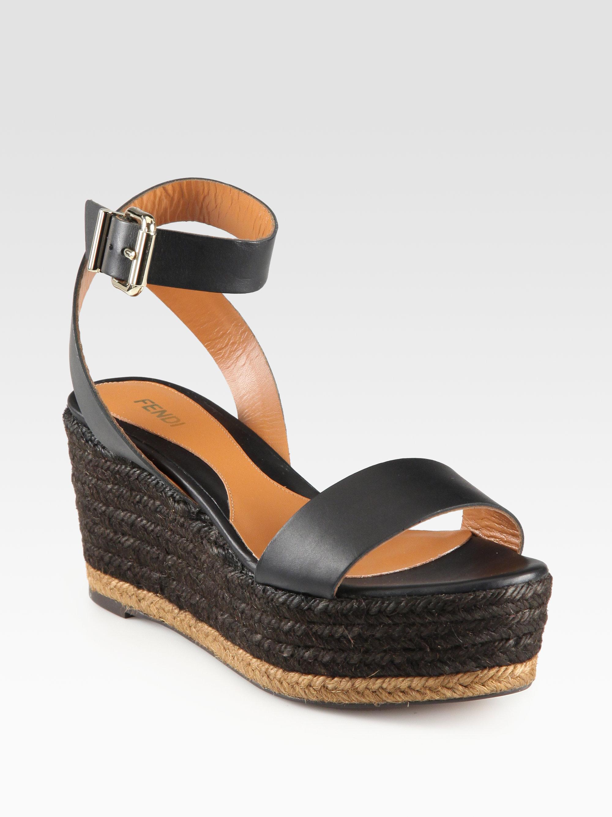 Fendi Leather Espadrille Sandals cheap real authentic discount best place 2015 new sale online 61BU4NSL