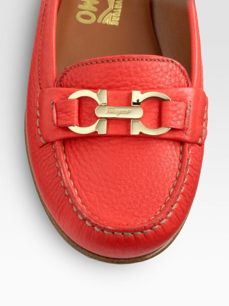 Ferragamo Simba Leather Loafers in Red - Lyst
