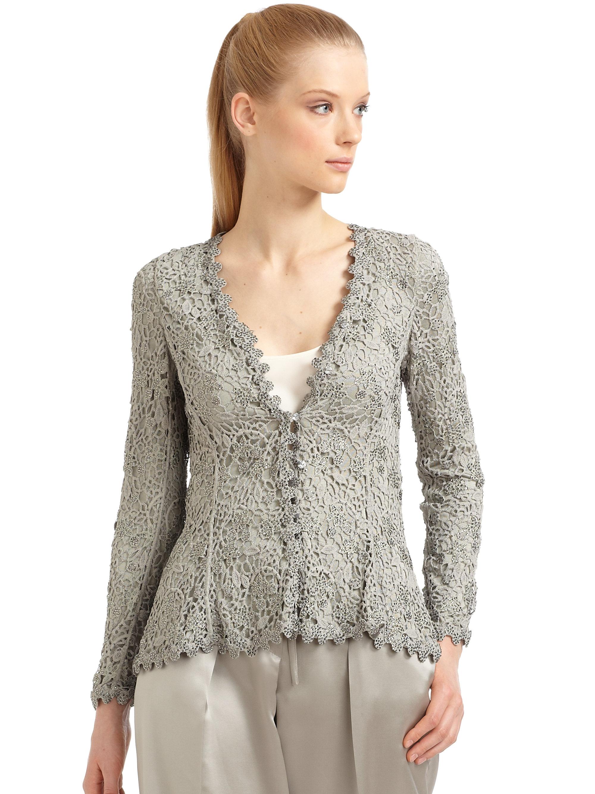 Lyst Giorgio Armani Rhinestone Embroidered Lace Jacket