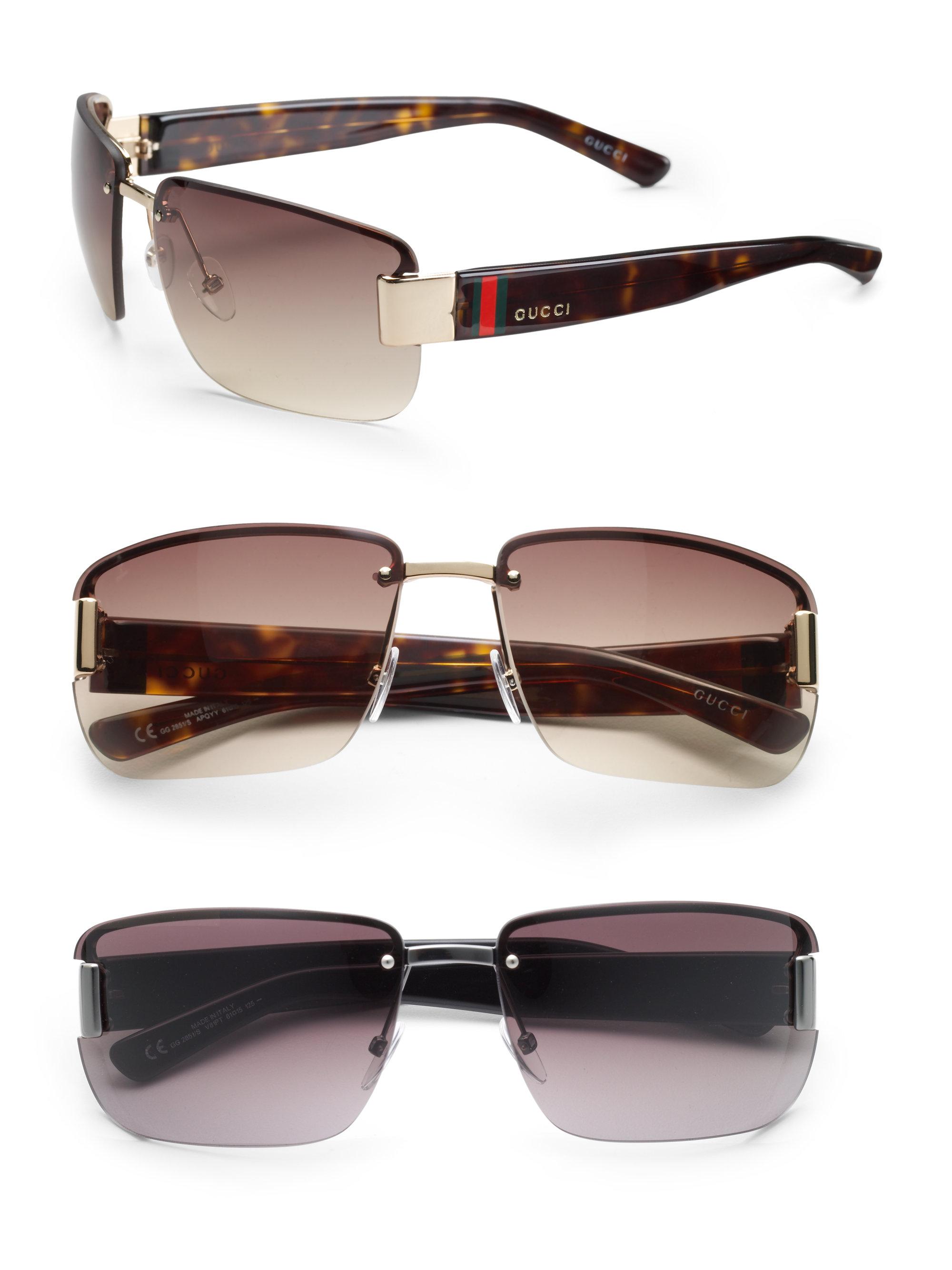 9001b6251 Gucci Rimless Rectangle Sunglasses in Black for Men - Lyst