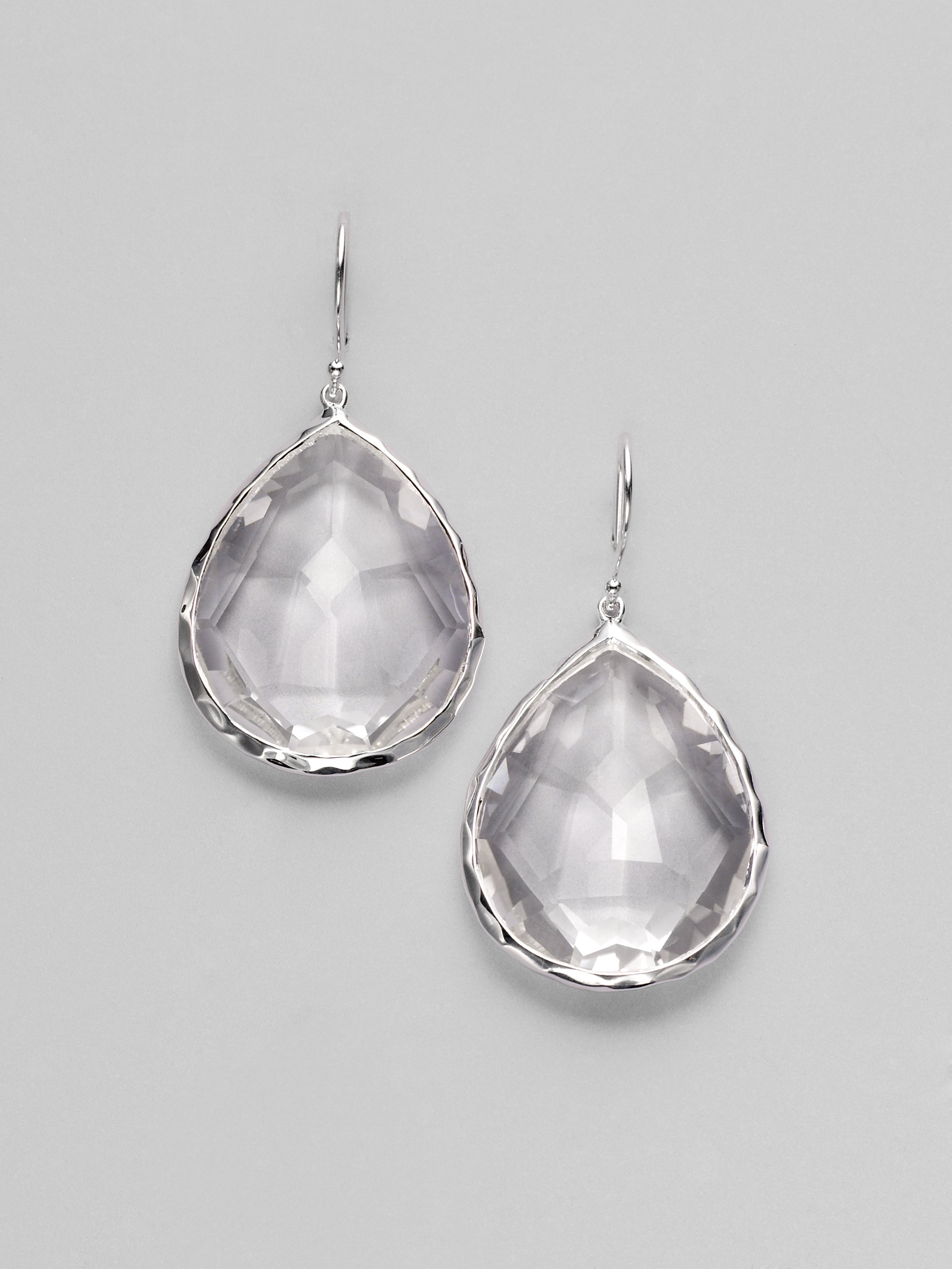 clear earrings for work ippolita rock clear quartz sterling silver large 569
