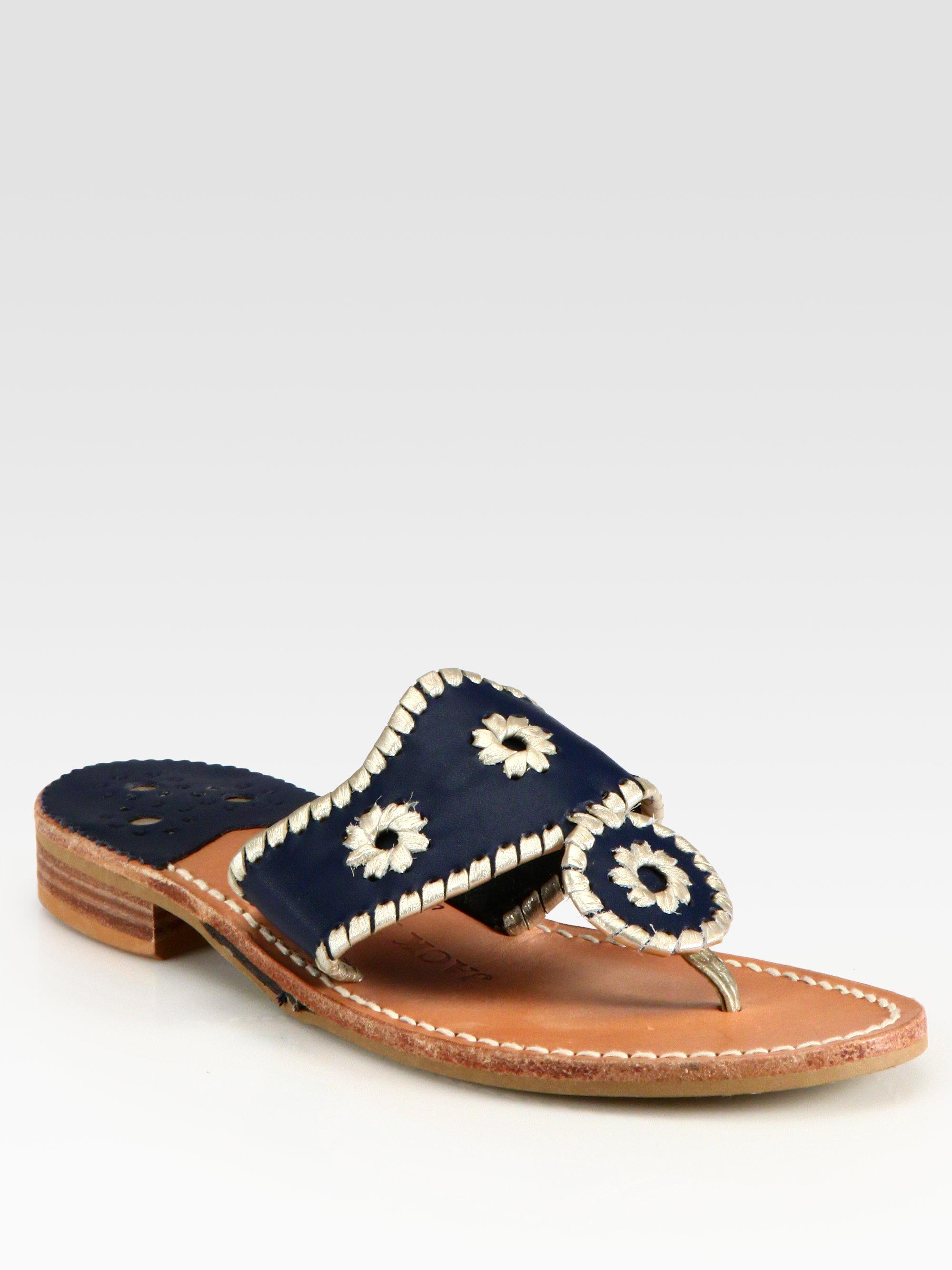 ea1e29d7869026 Lyst - Jack Rogers Navajo Palm Beach Platinum Sandals in Metallic