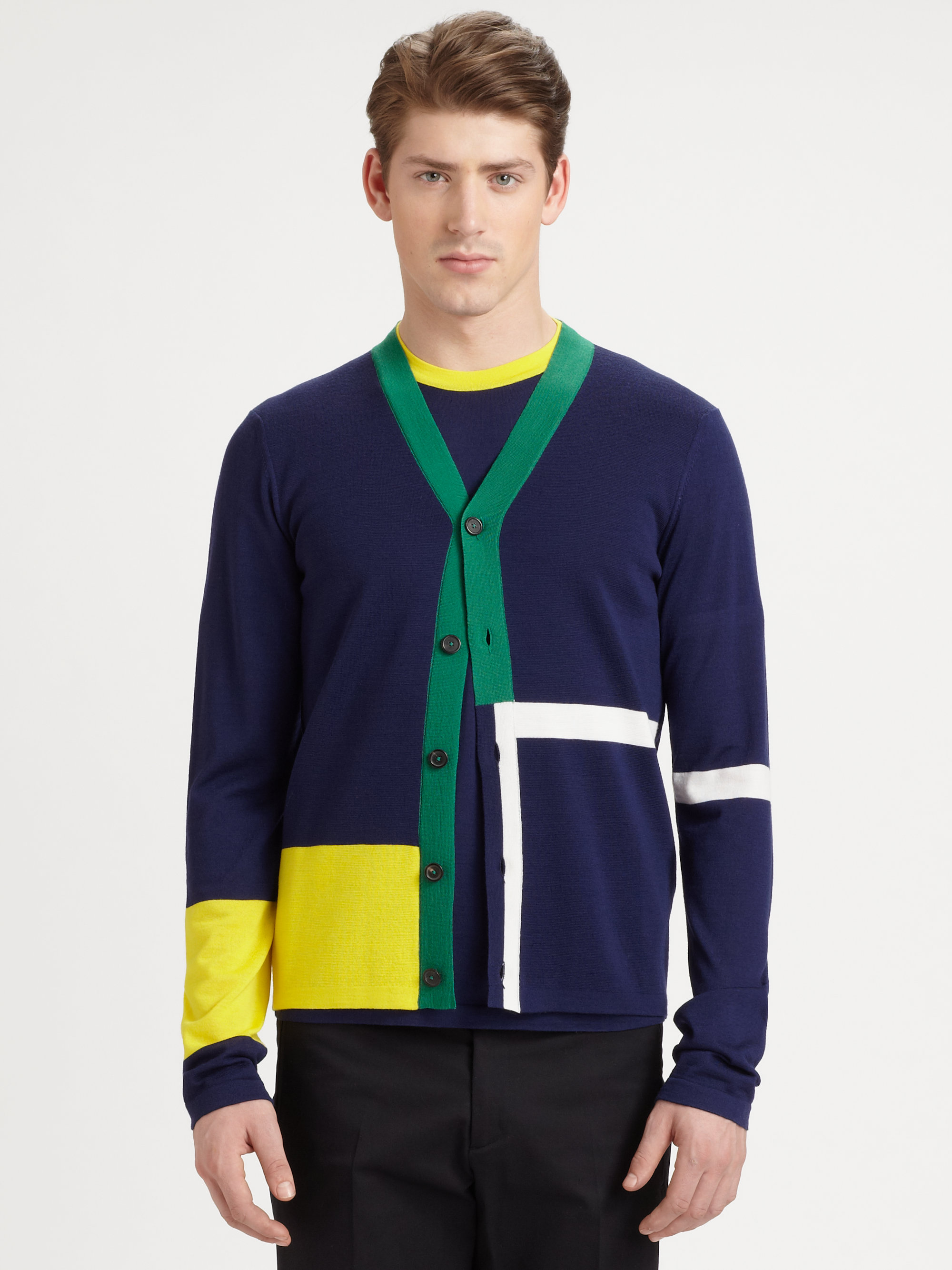 jil sander colorblock cardigan in blue for men blue multi. Black Bedroom Furniture Sets. Home Design Ideas