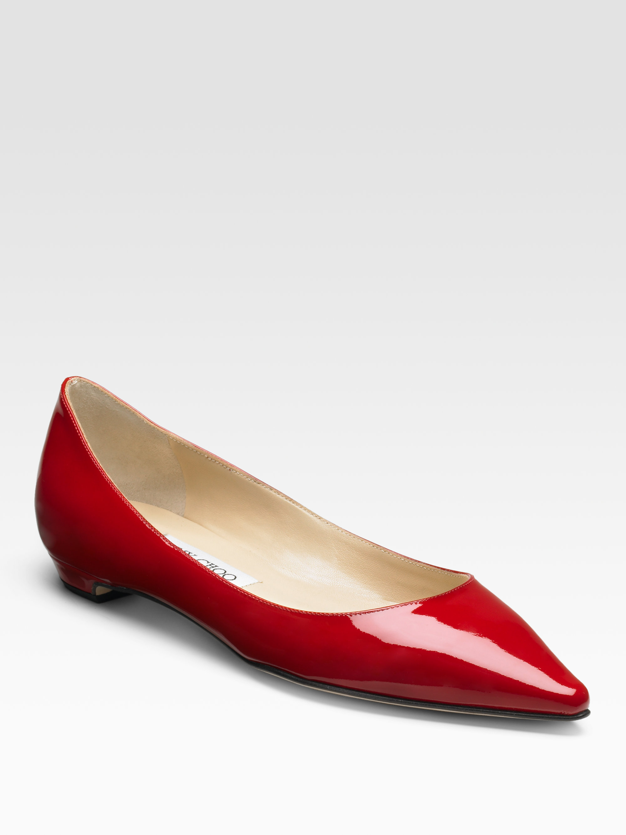 89e9fb5e51ae ... uk lyst jimmy choo sandy patent leather pointtoe flats in red f57cb  ea3dd