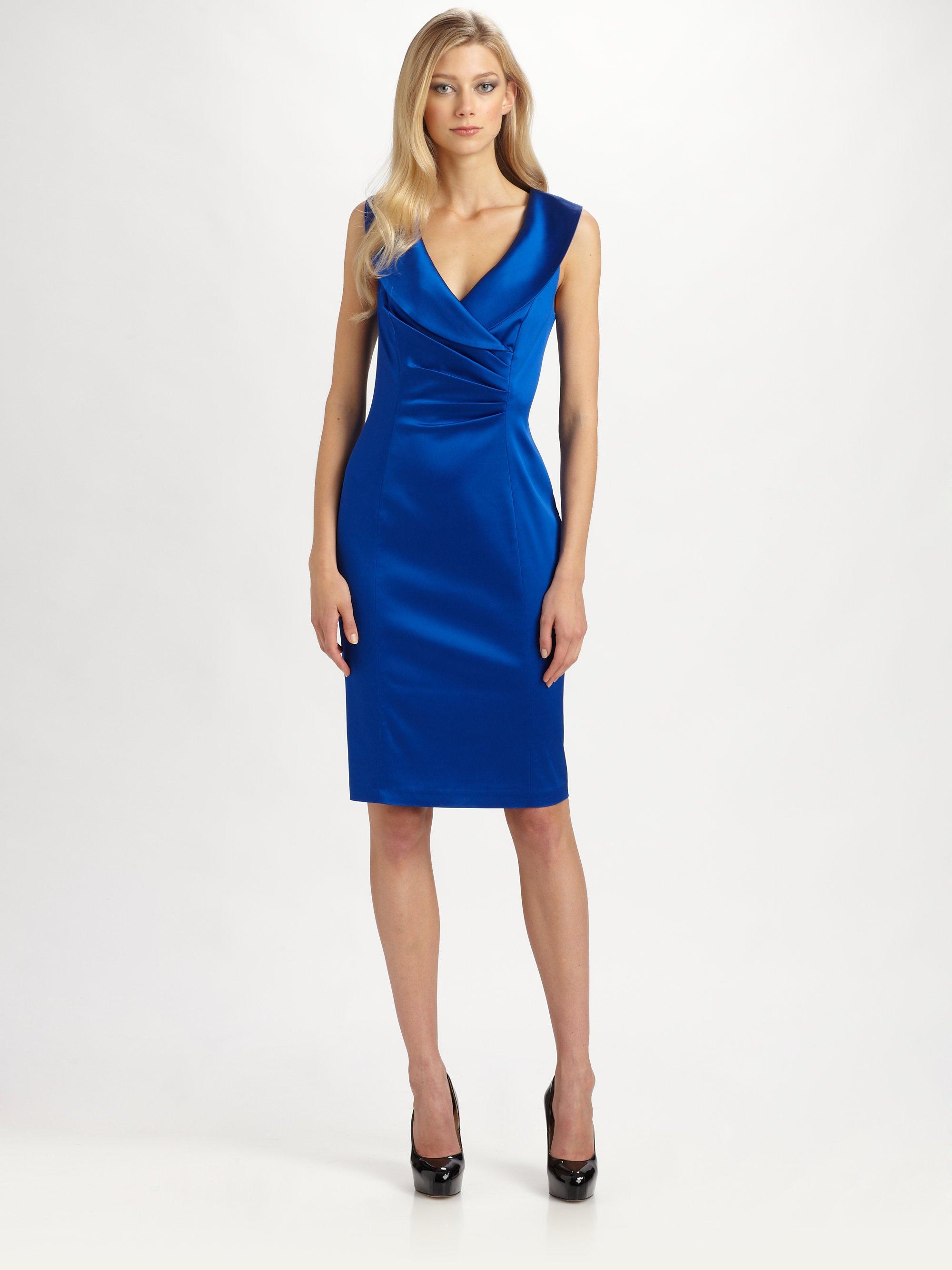 Kay unger Satin Dress in Blue | Lyst