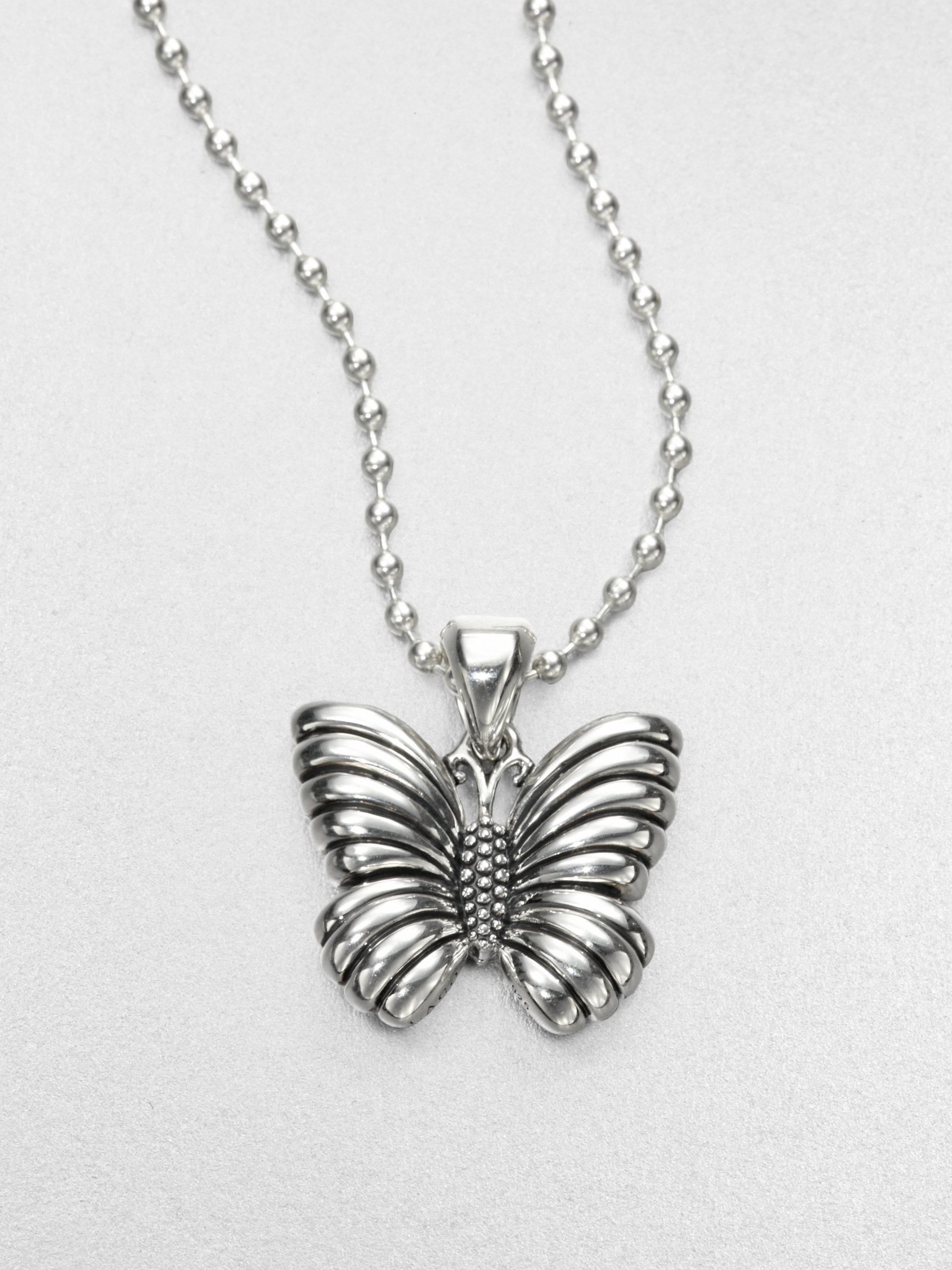 lagos sterling silver butterfly pendant necklace in silver
