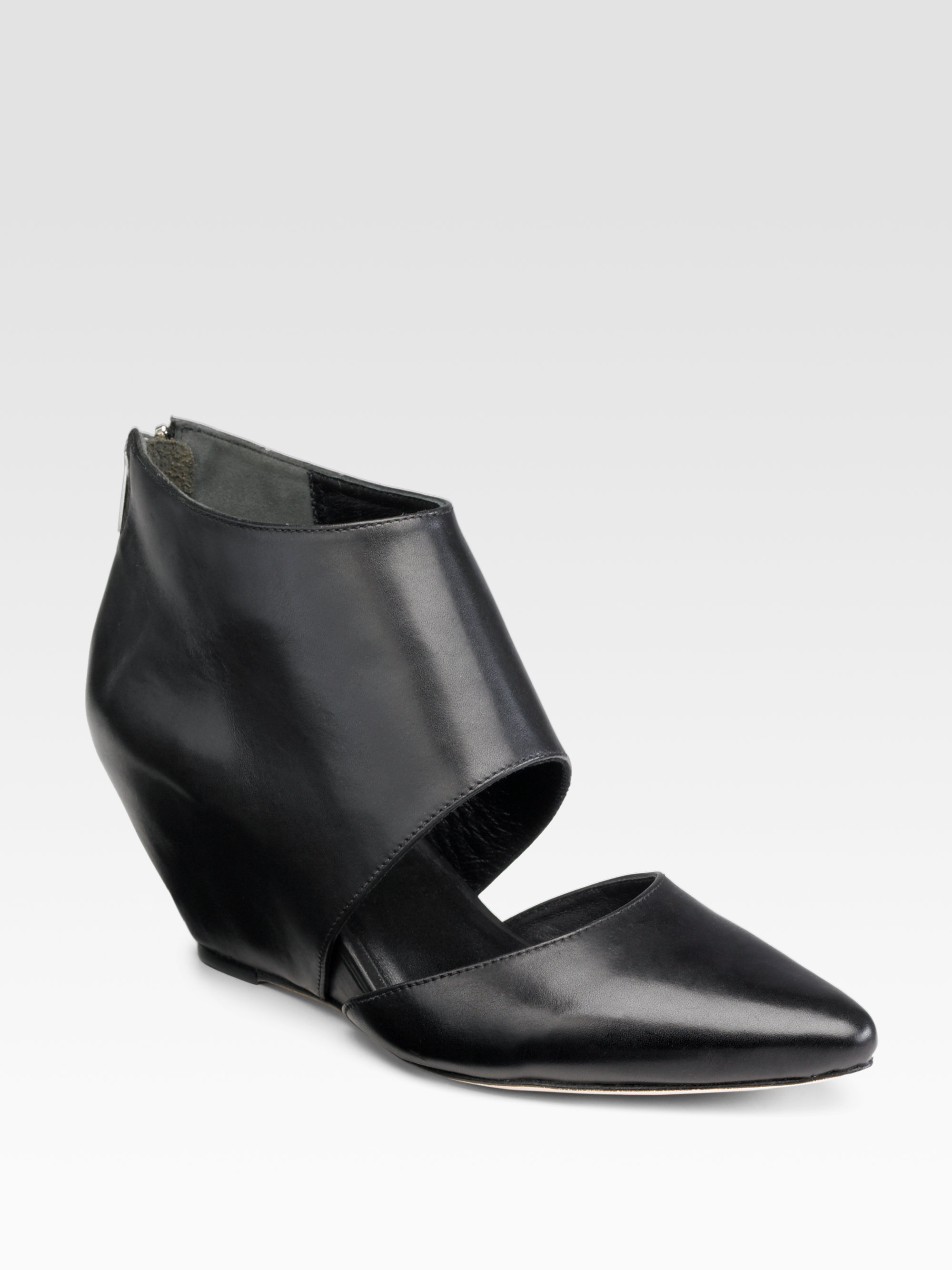 Loeffler randall Low Cutout Wedge Ankle Boots in Black | Lyst