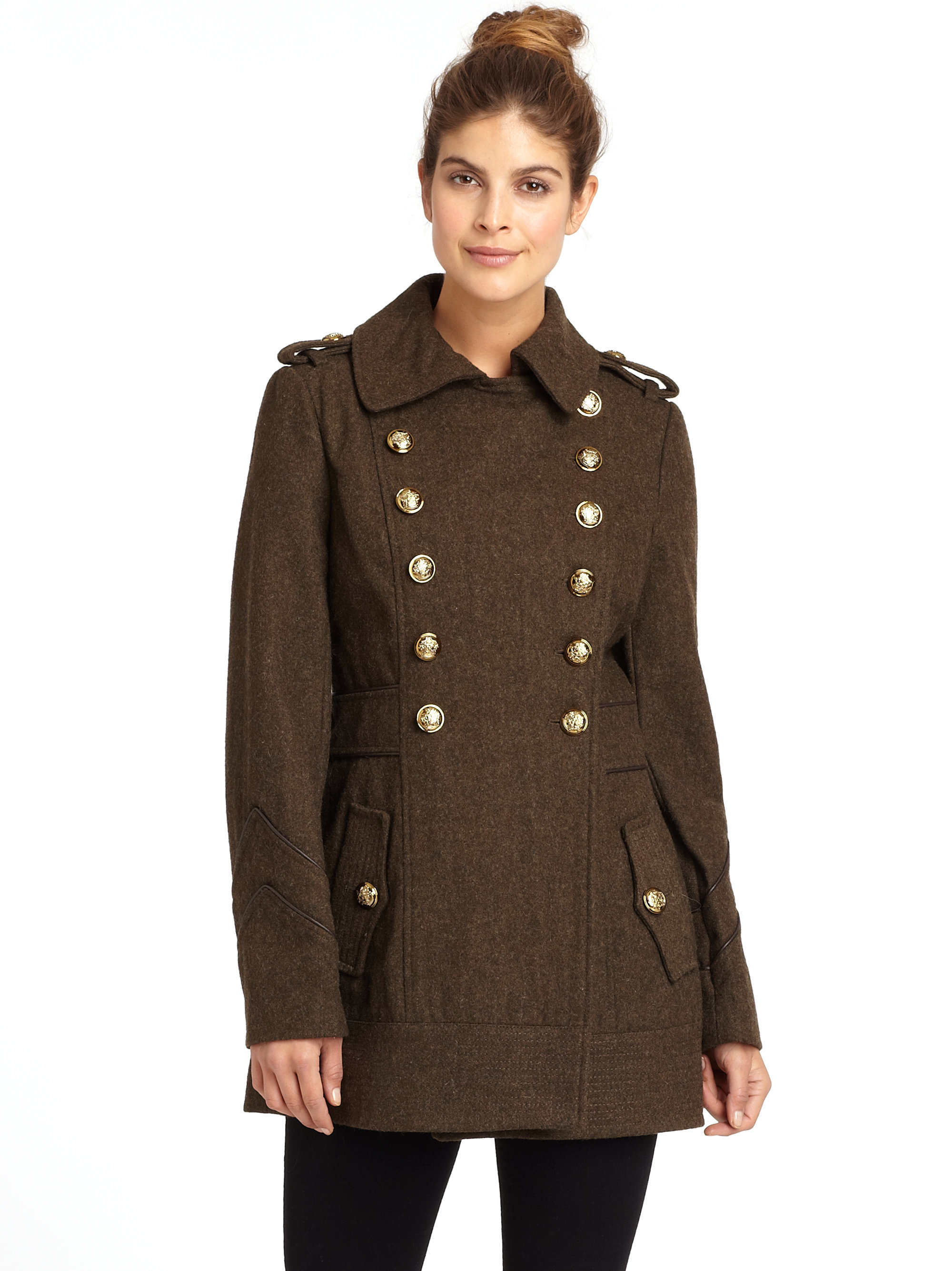 Miss sixty Missy Goldtone Button Peacoat in Green | Lyst