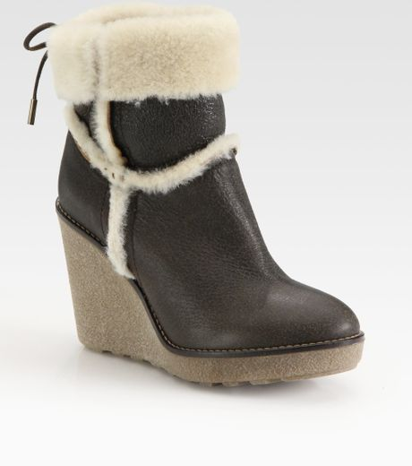 moncler shearlinglined leather wedge ankle boots in brown