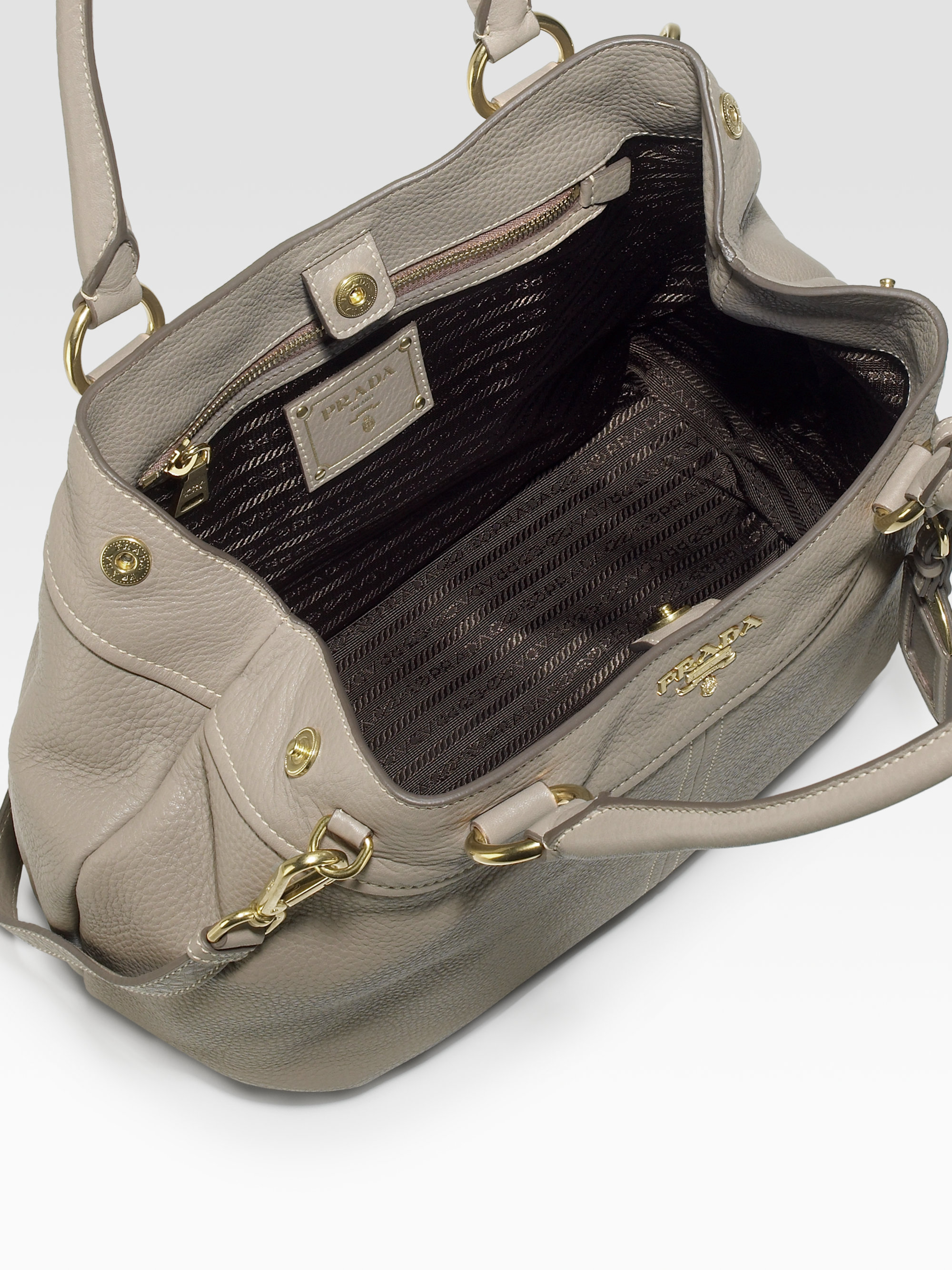 a0cfbb318448 Prada Vitello Daino Satchel in Gray - Lyst