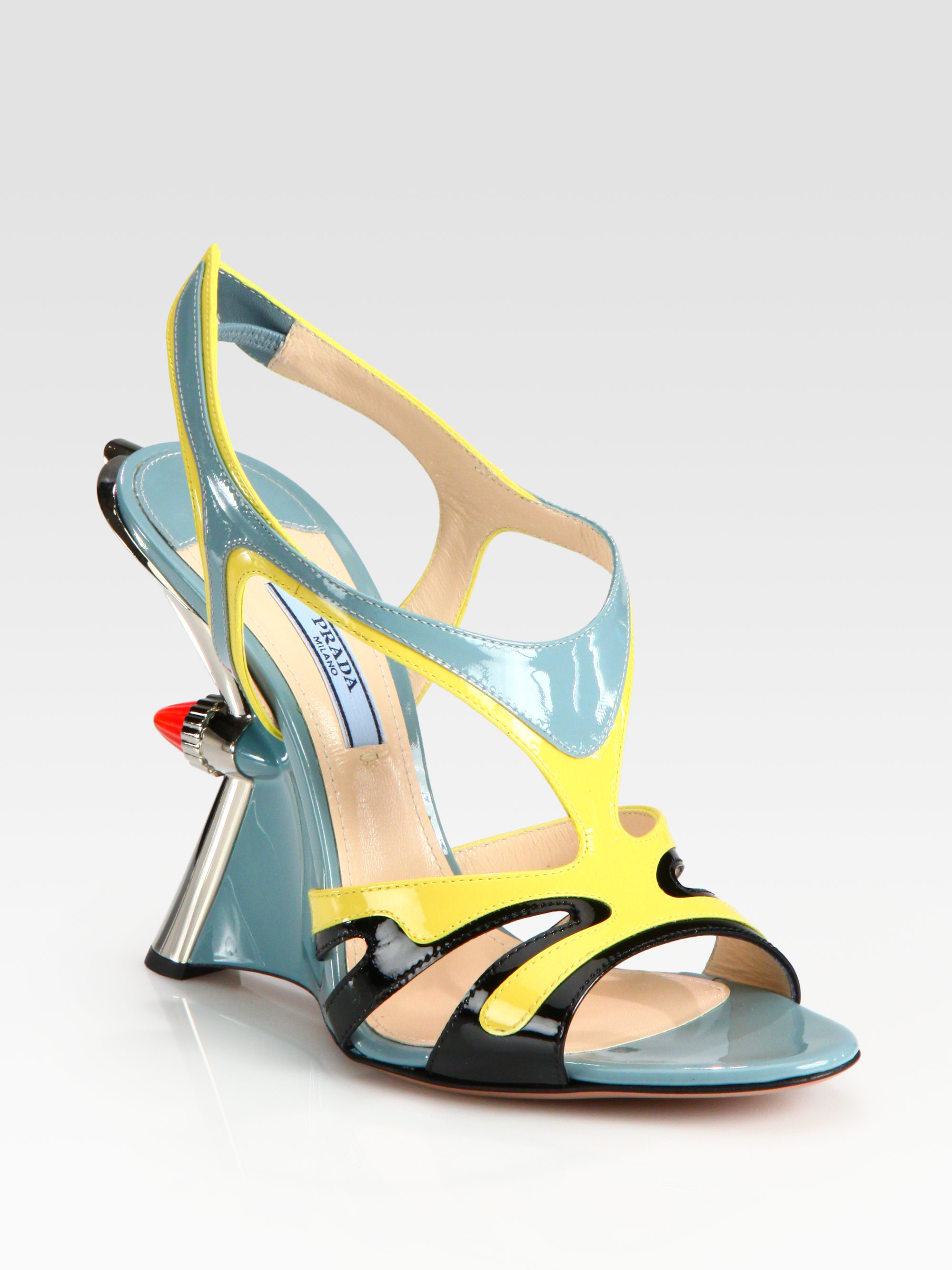 Prada Patent Leather Tail Light Wedge Sandals in Multicolor (blue ...