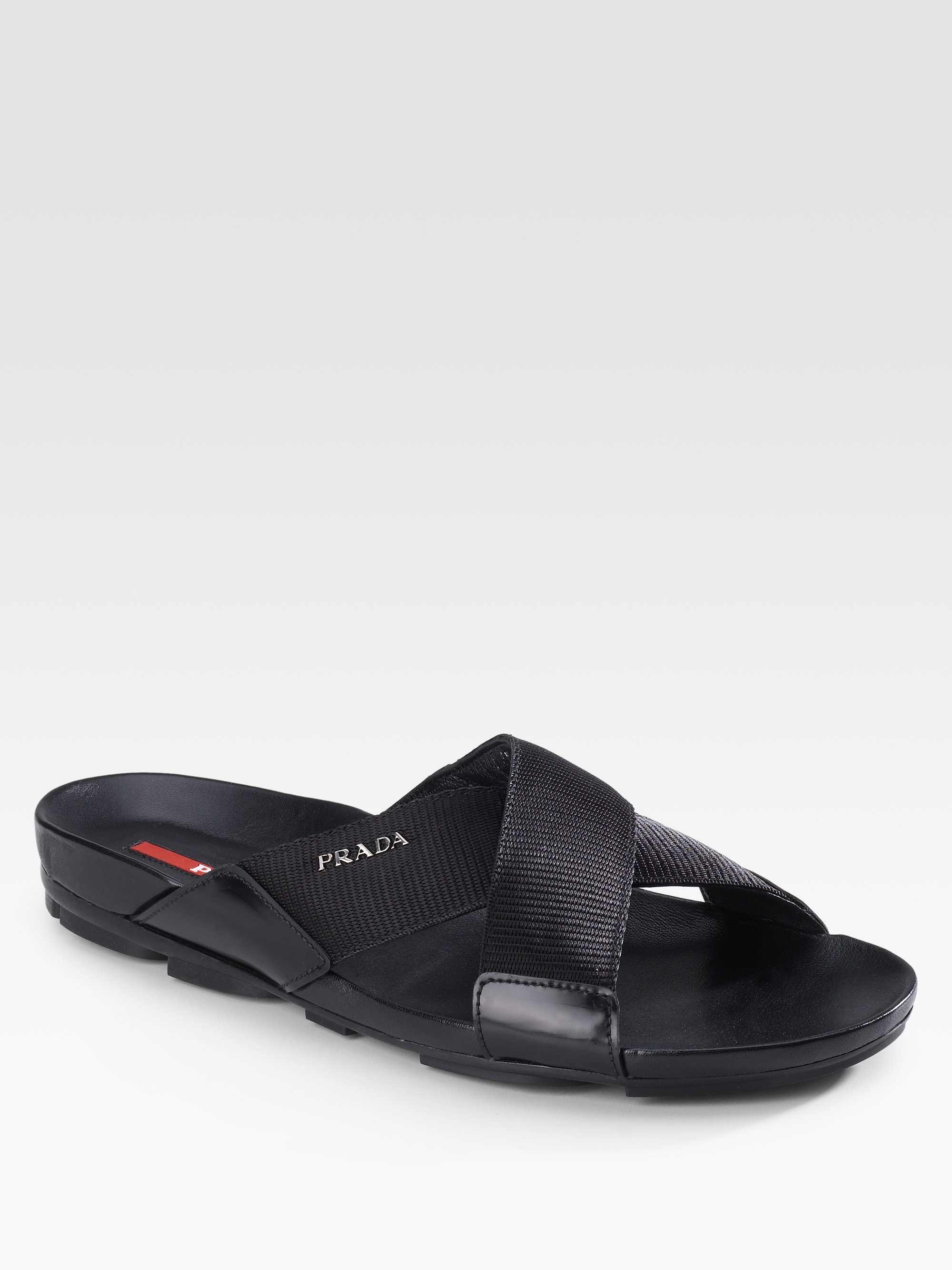 2418b66125c625 Prada Leather Sandals in Black for Men - Lyst