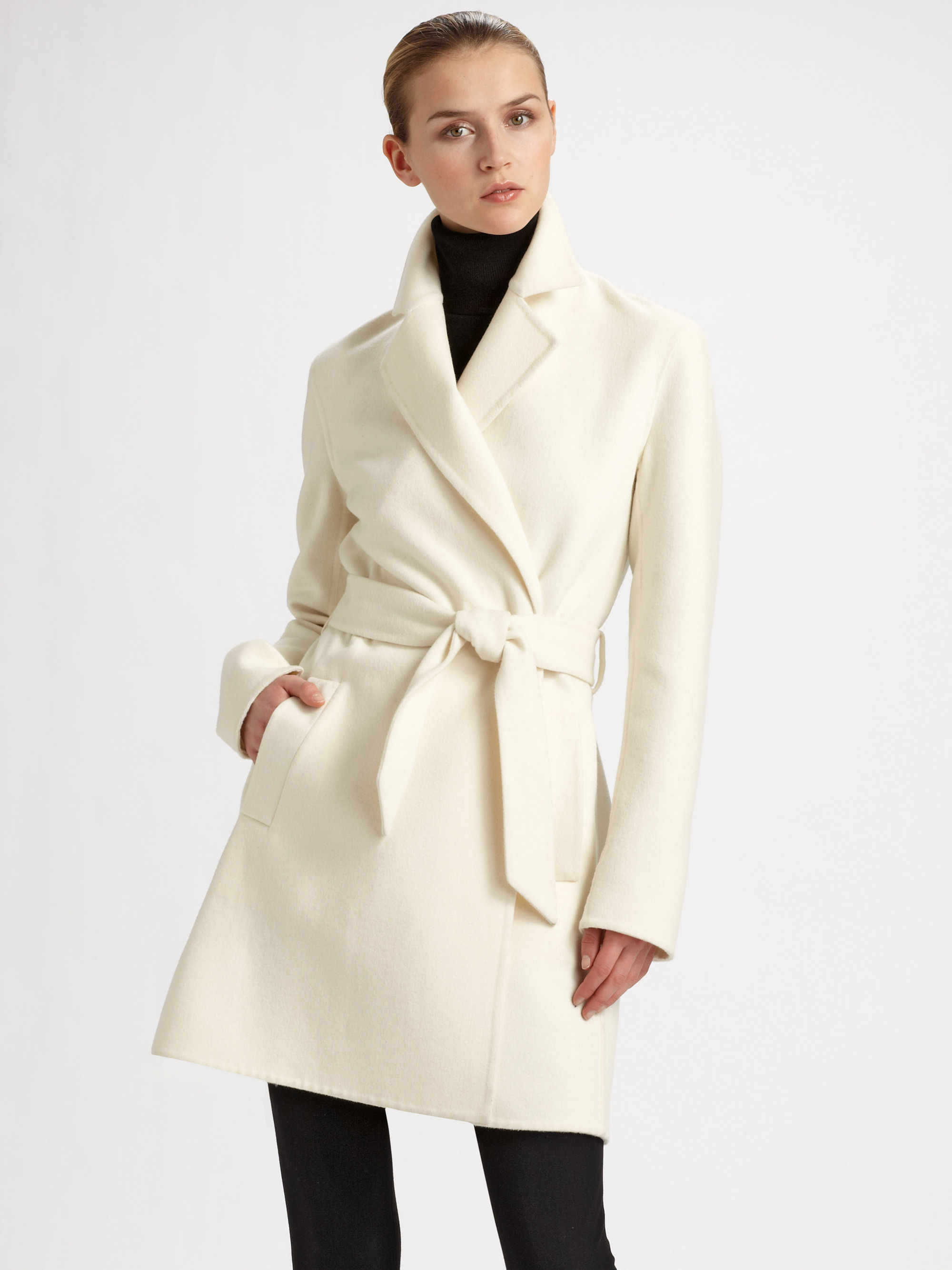 Ralph lauren black label Heatherly Doubleface Wrap Coat in White