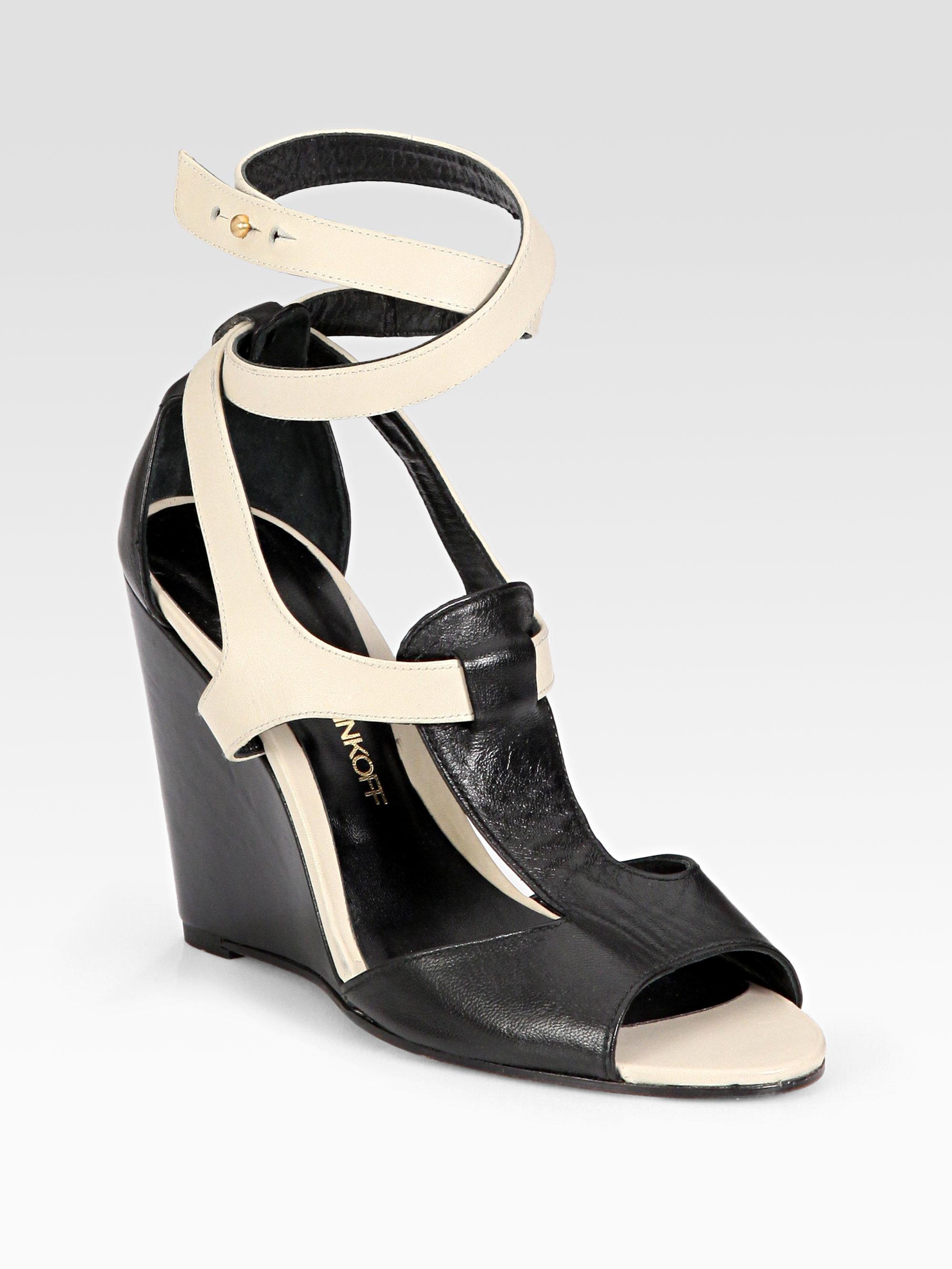 Rebecca Minkoff Dupio Bicolor Leather Wedge Sandals In