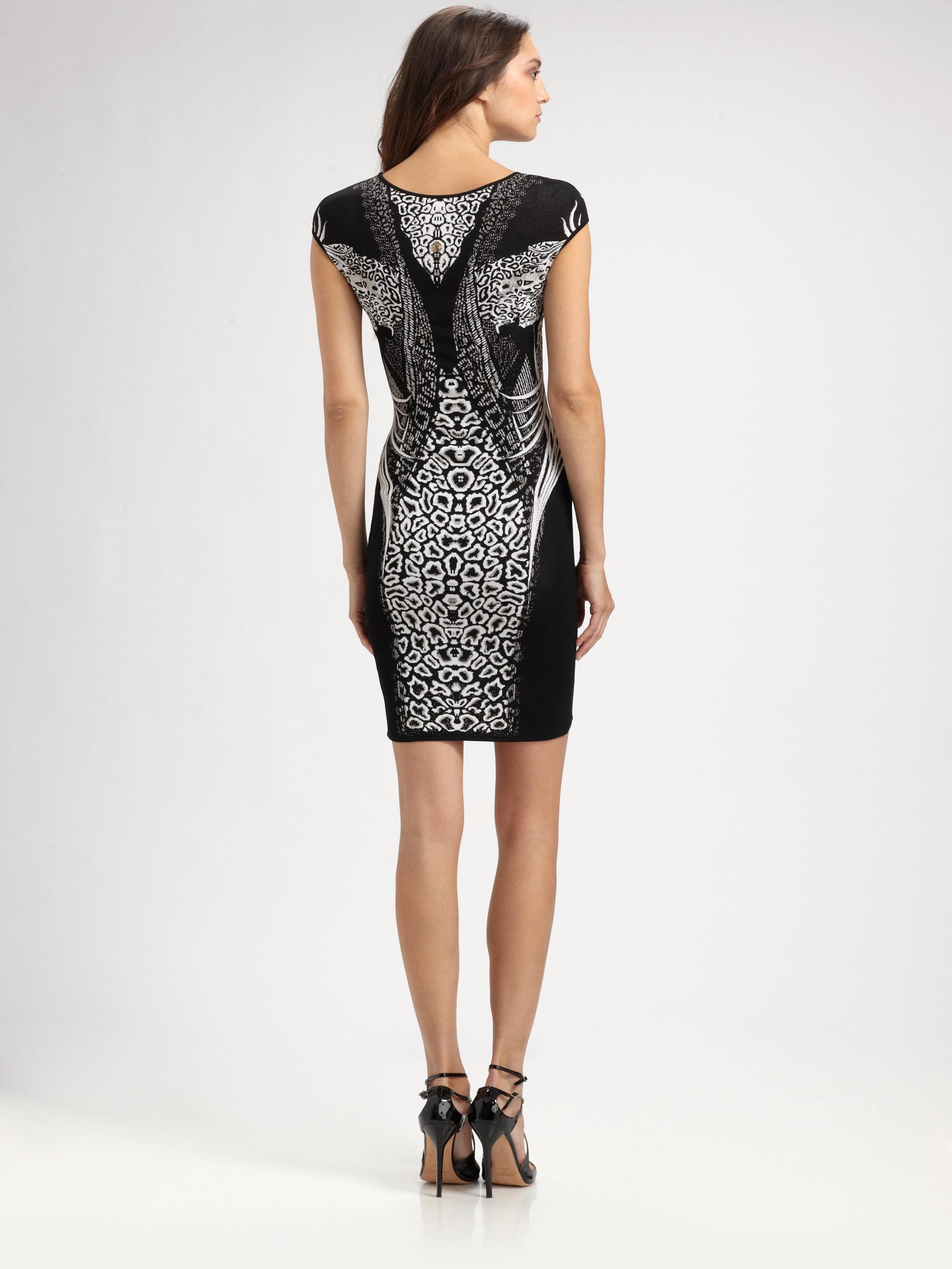 Lyst Roberto Cavalli Animal Print Dress In Black